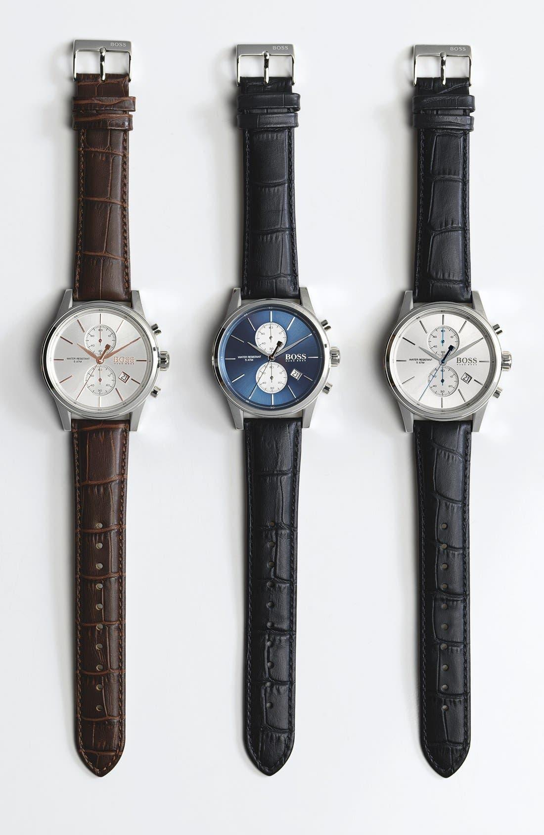 'Jet Sport' Chronograph Leather Strap Watch, 41mm,                             Alternate thumbnail 4, color,                             WHITE/ BLACK