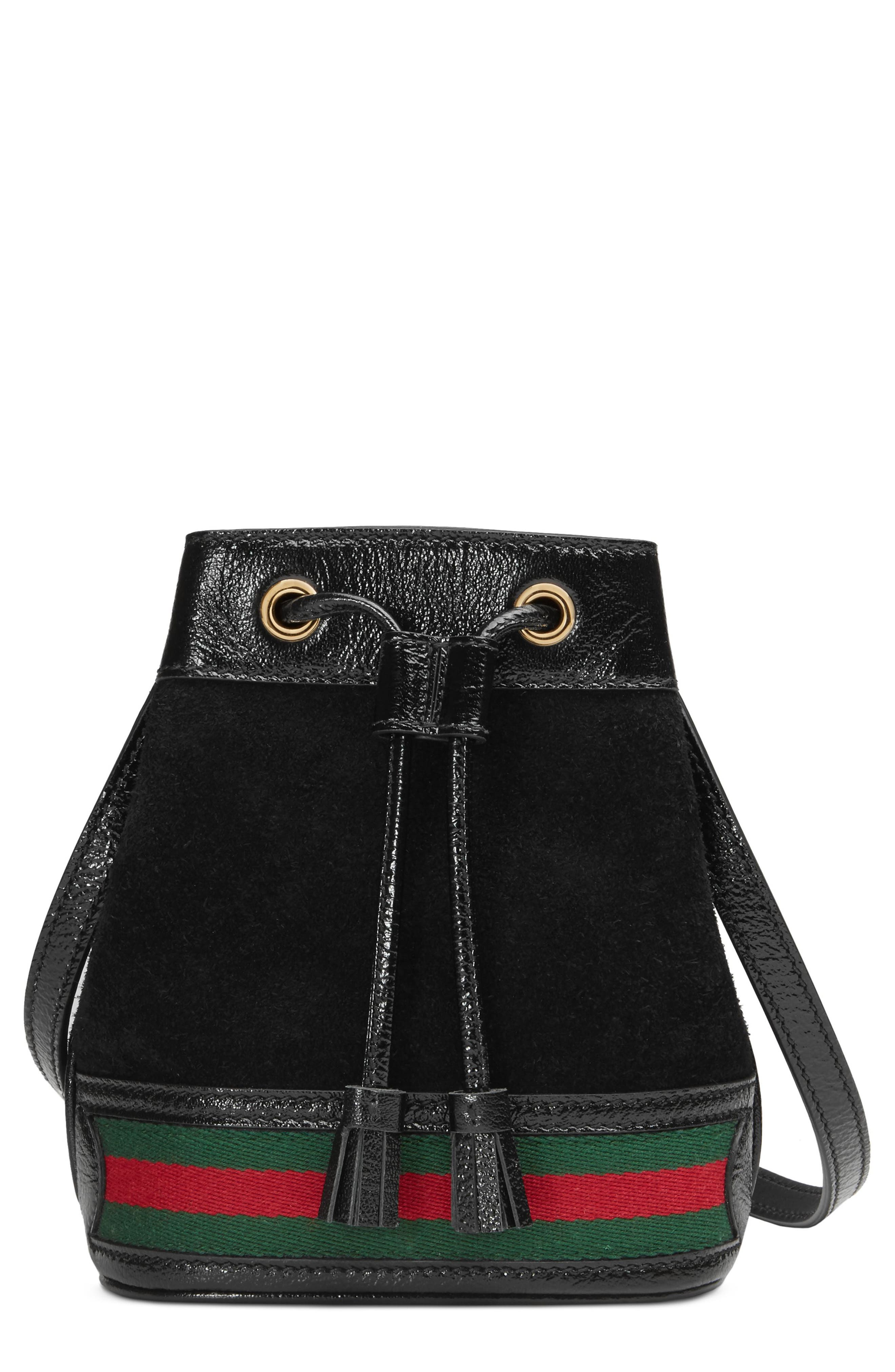 Mini Ophidia Suede & Leather Bucket Bag,                         Main,                         color, NERO/ VERT/ RED