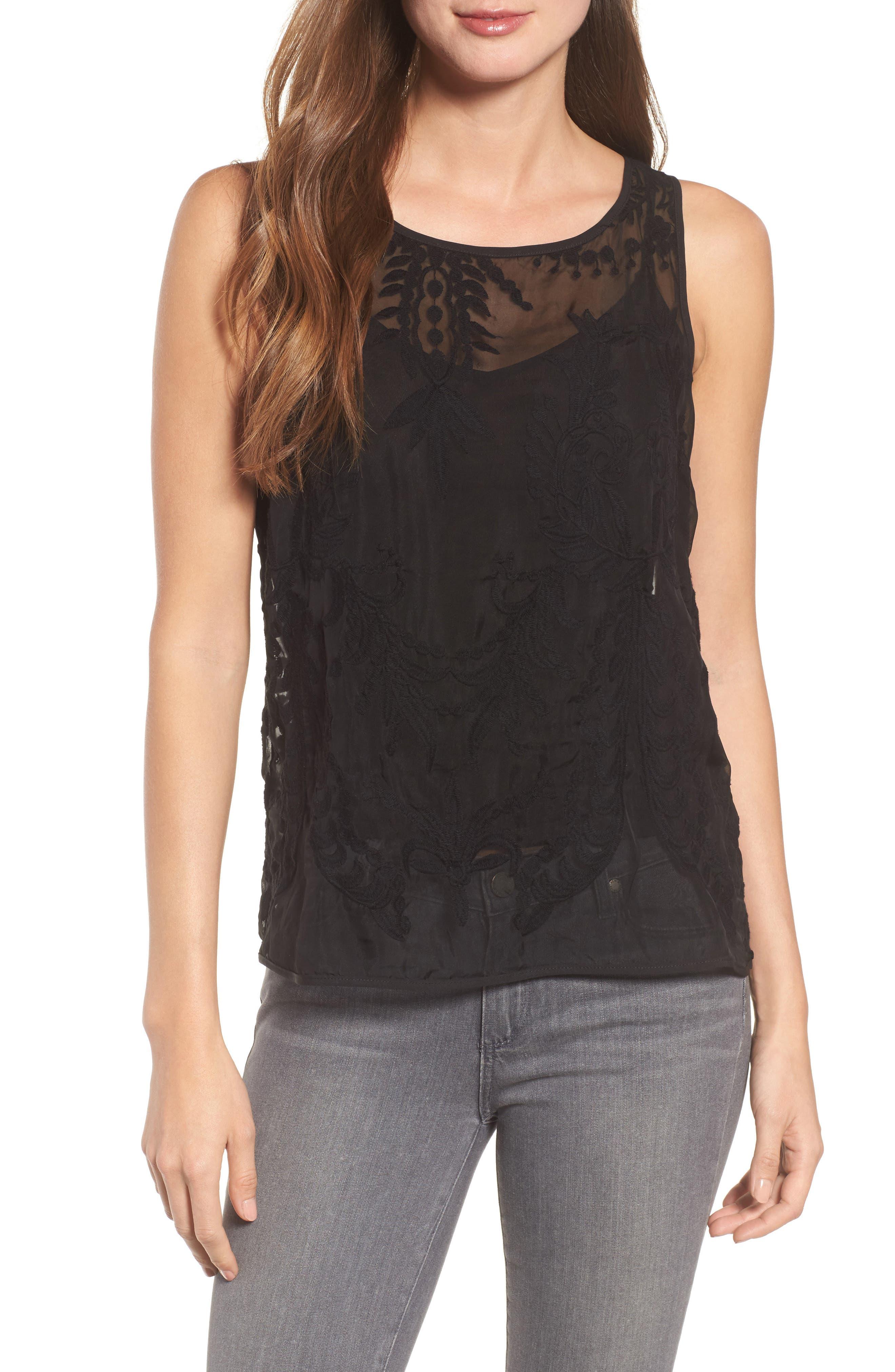 Lucca Lace Blouse,                         Main,                         color, BLACK