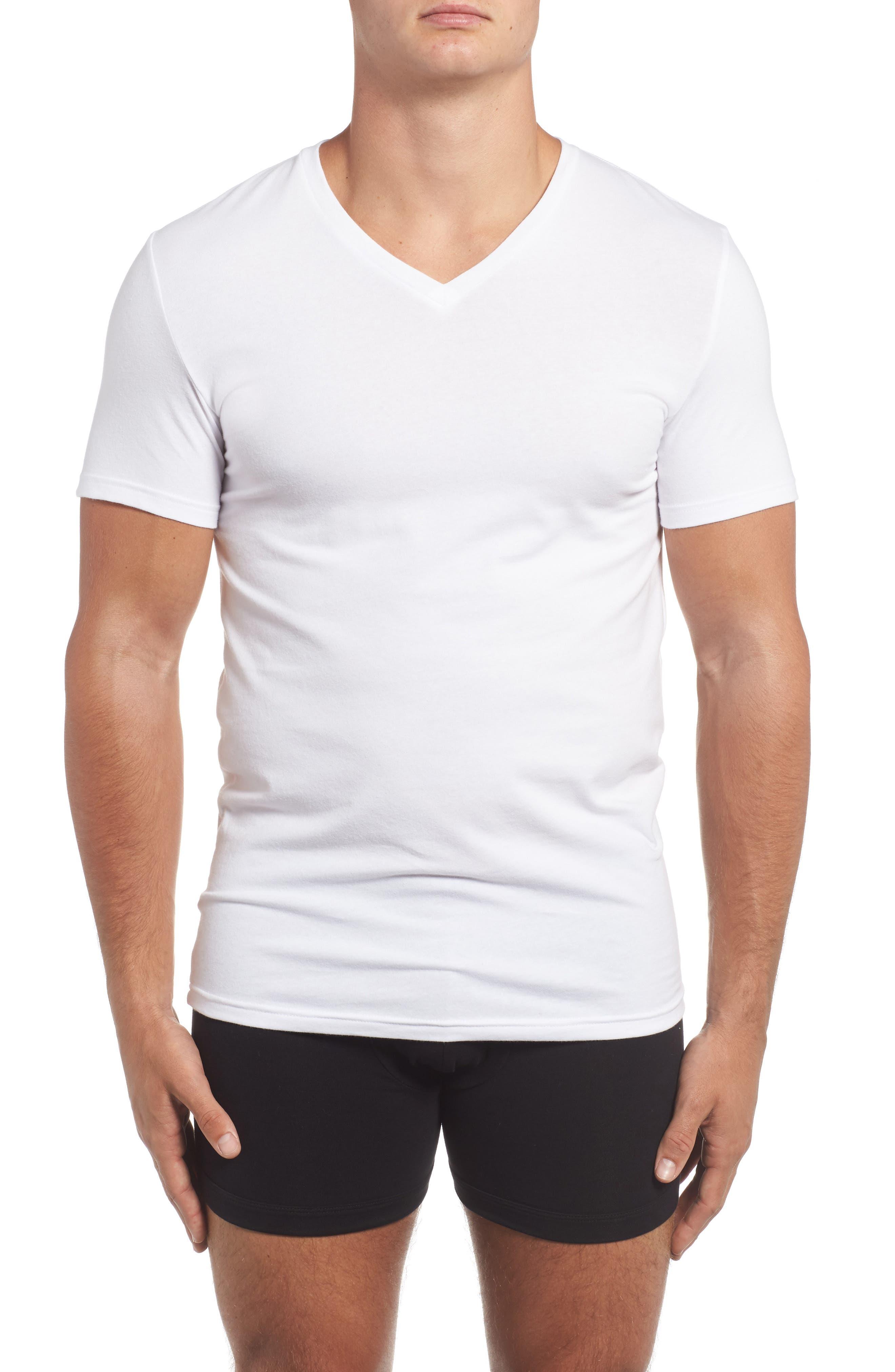 Trim Fit 3-Pack Stretch Cotton V-Neck T-Shirt,                             Alternate thumbnail 2, color,                             WHITE