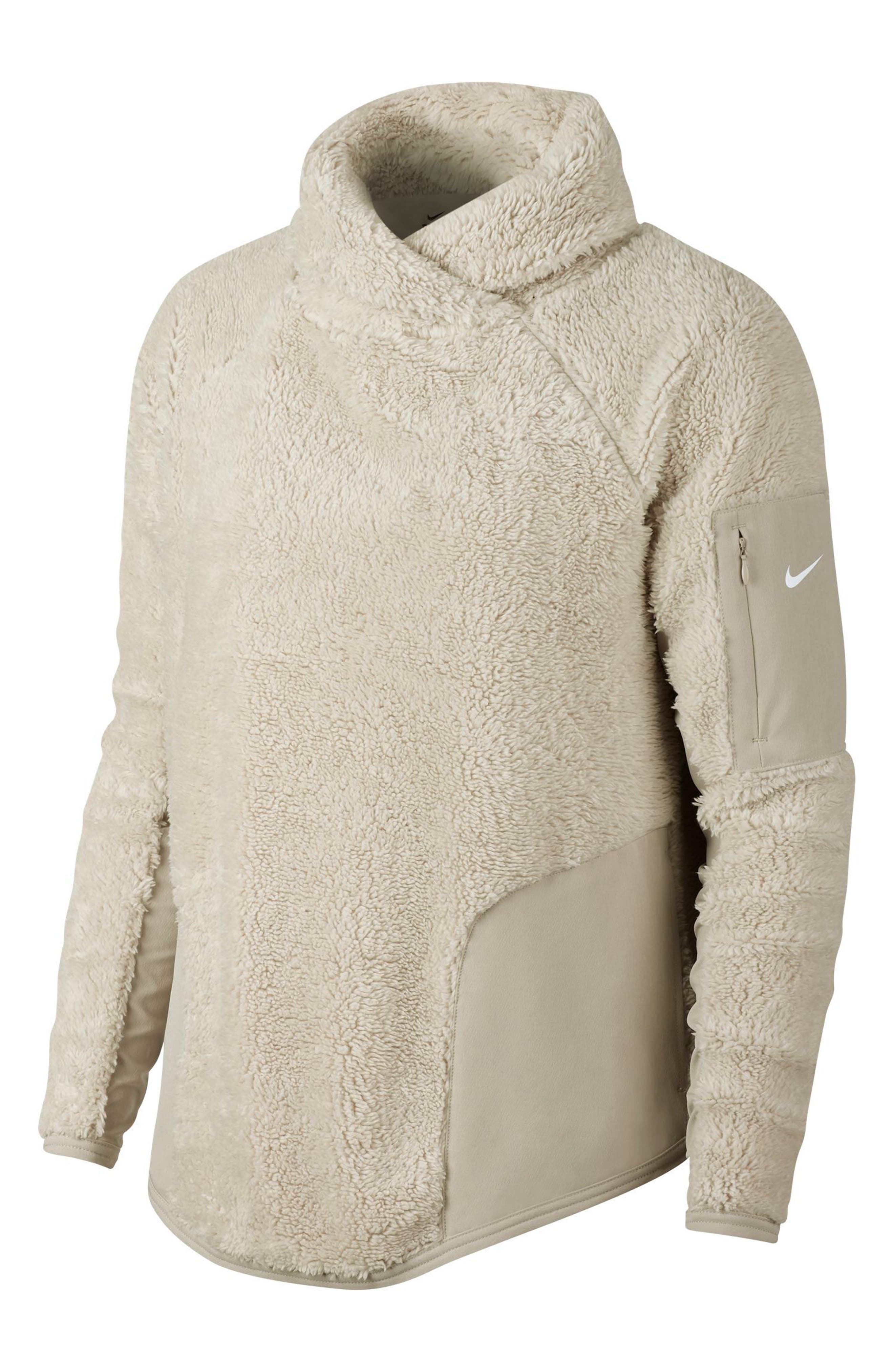 Stand-Collar Sherpa Pullover Active Top in Desert Sand/ White