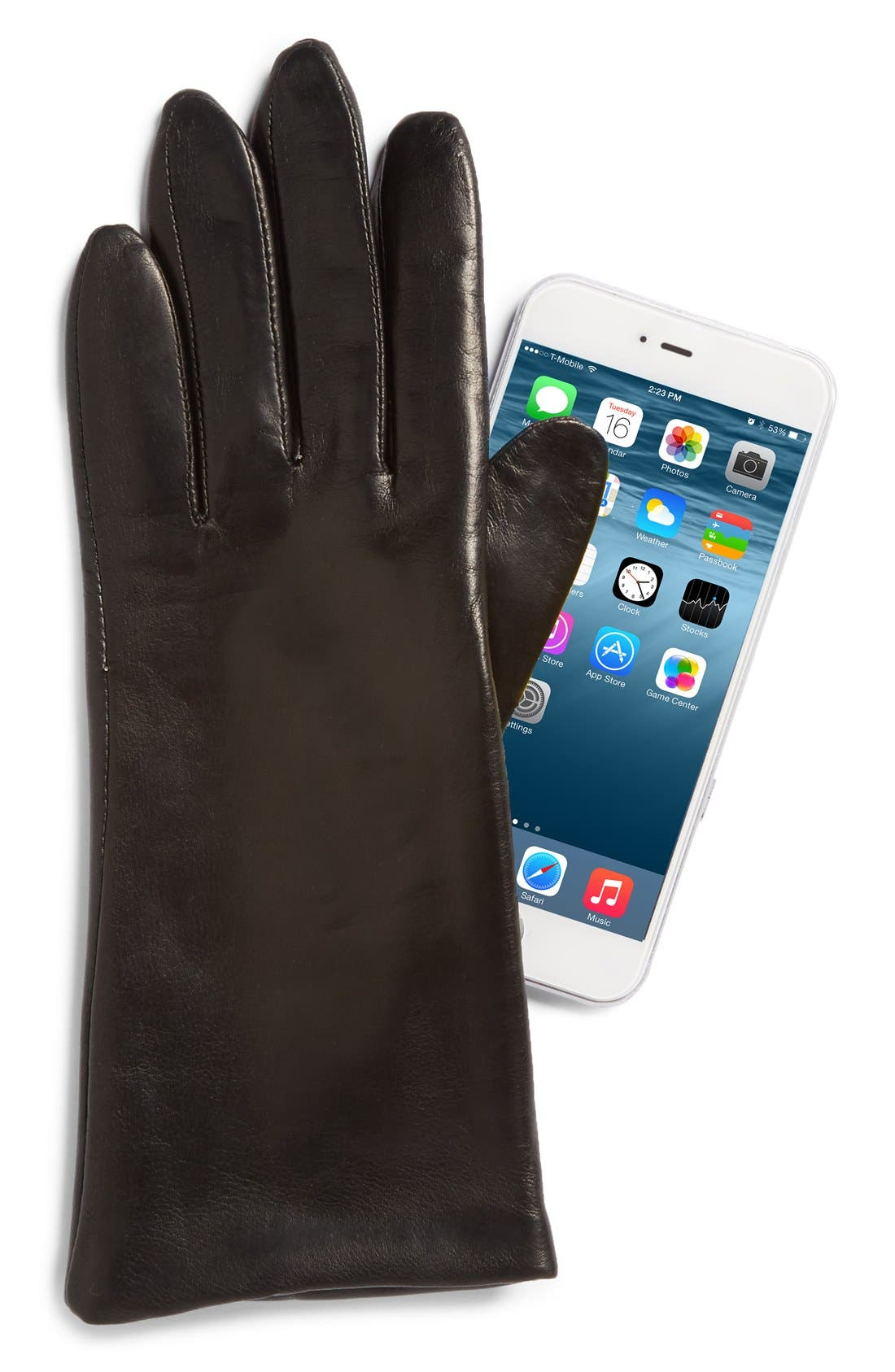 'Basic Tech' Cashmere Lined Leather Gloves,                             Alternate thumbnail 17, color,