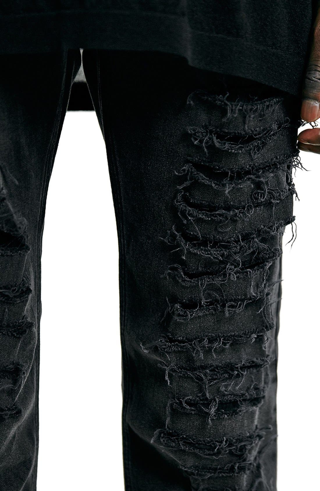 'AAA Collection' Shredded Stretch Skinny Fit Jeans,                             Alternate thumbnail 4, color,                             001