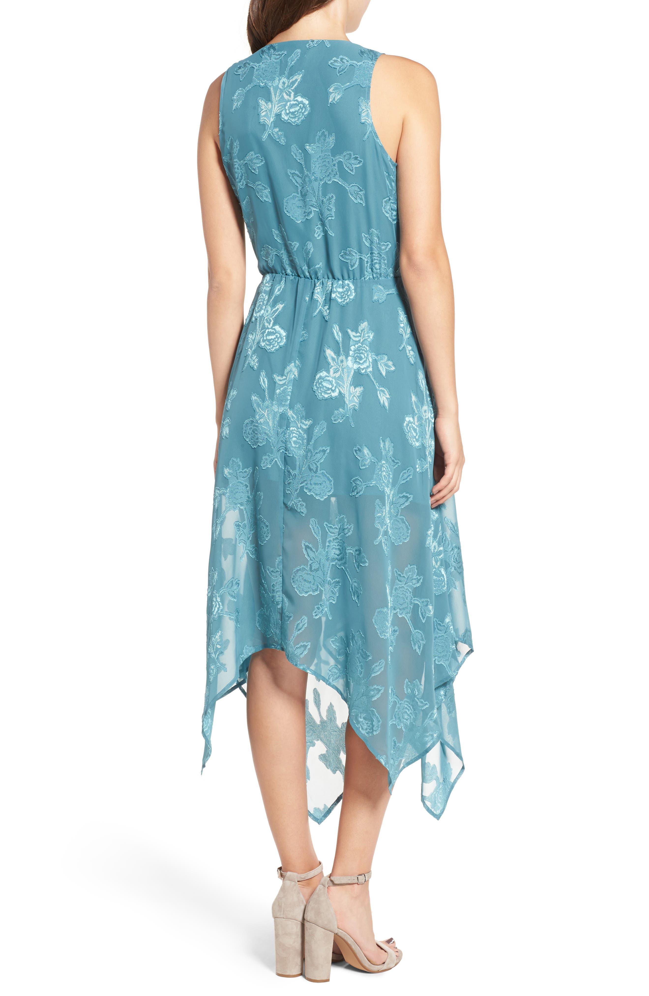 Handkerchief Hem Faux-Wrap Midi Dress,                             Alternate thumbnail 2, color,                             440