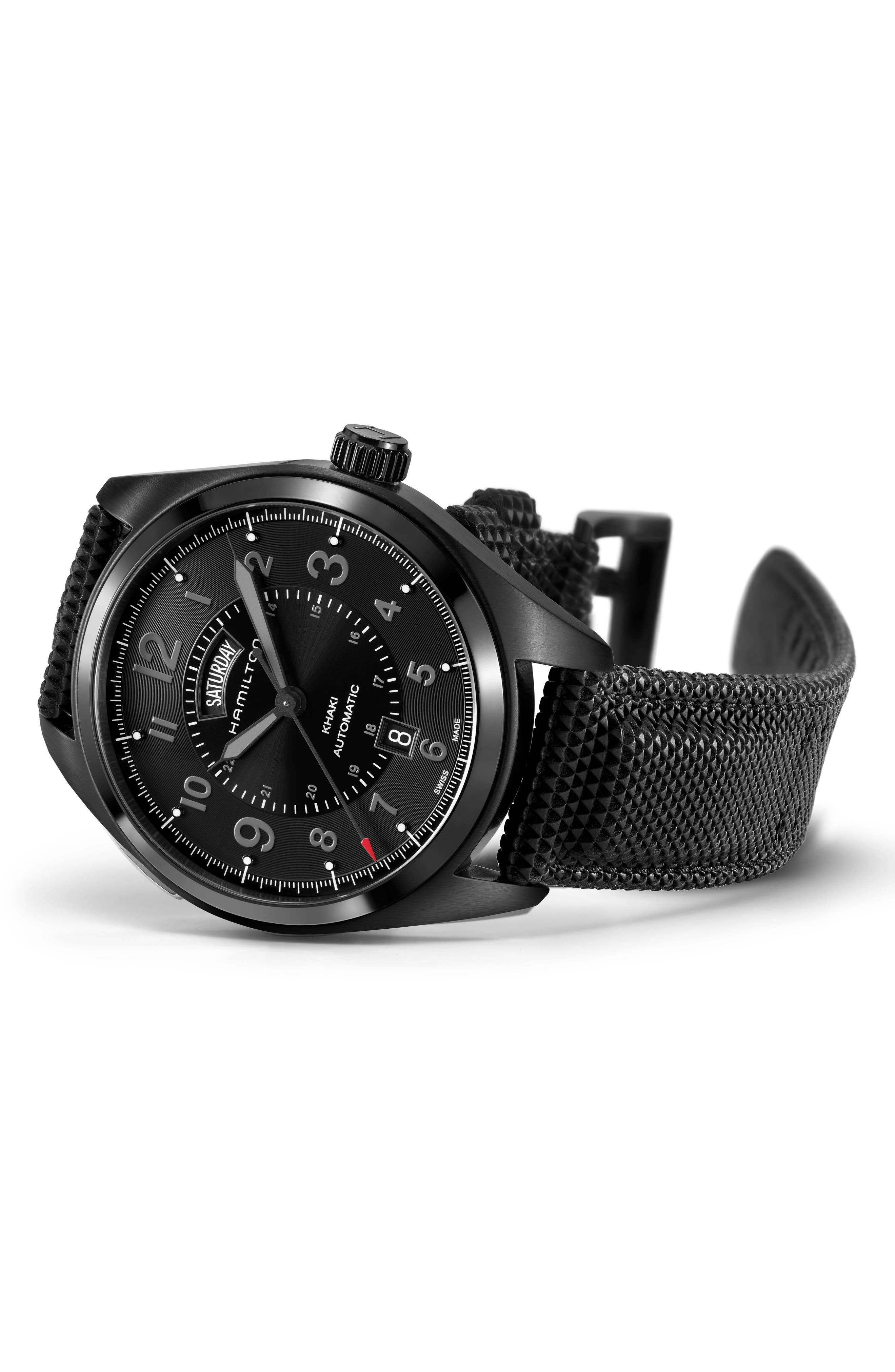 Khaki Field Automatic Silicone Strap Watch, 42mm,                             Alternate thumbnail 2, color,                             BLACK
