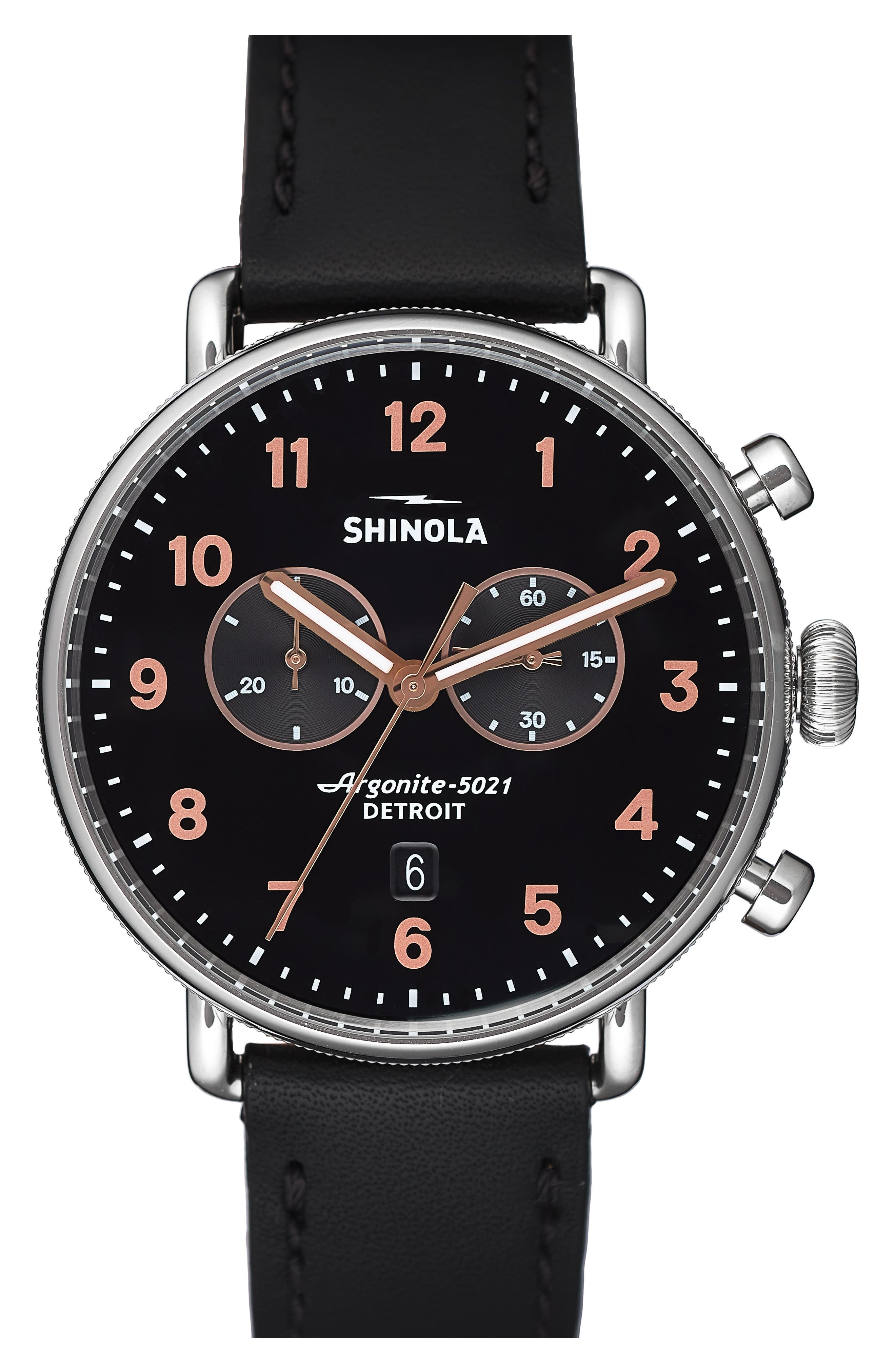 The Canfield Chrono Leather Strap Watch, 43mm,                         Main,                         color, BLACK/ ROSE GOLD/ SILVER