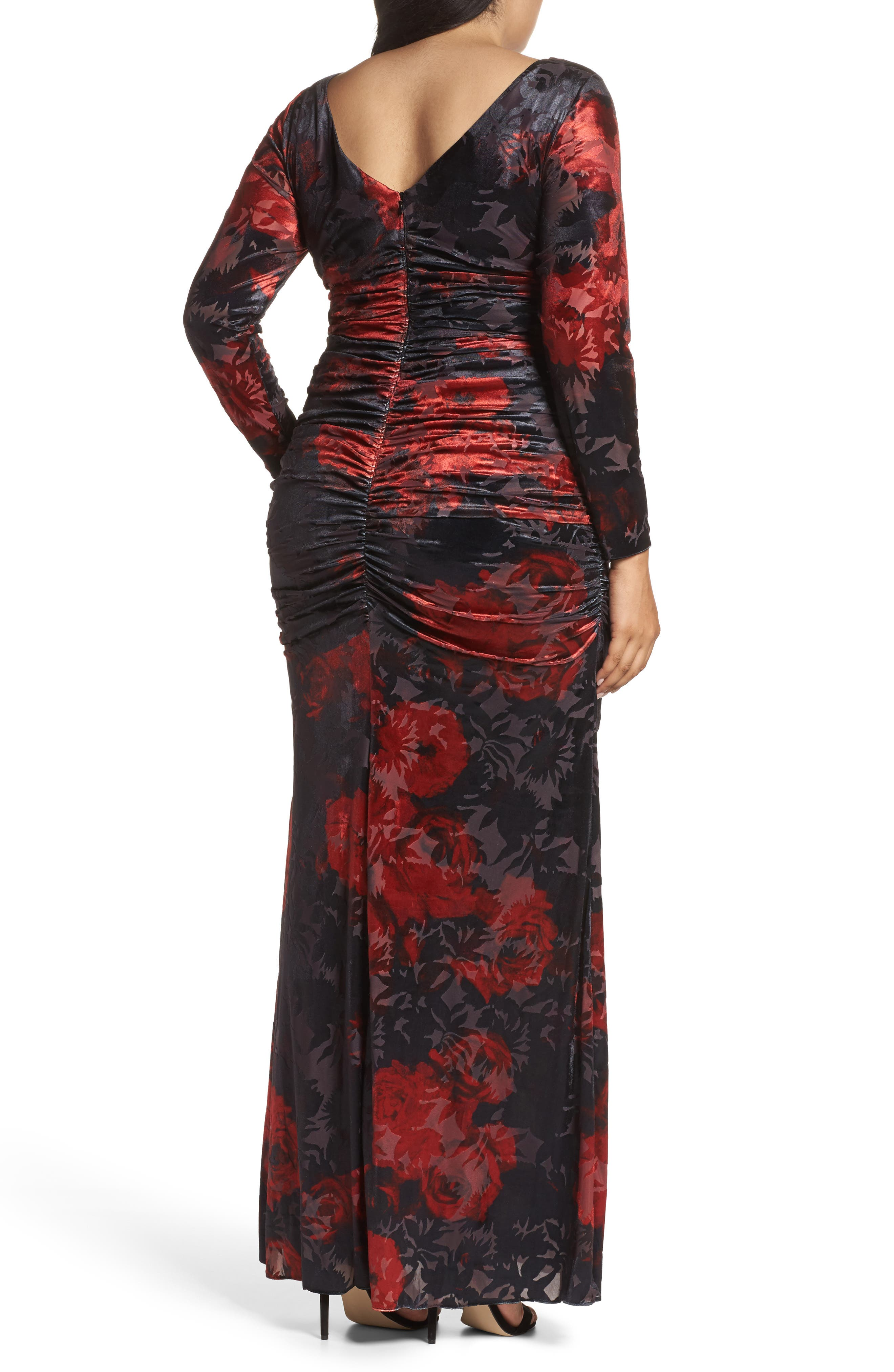 Adriana Papell Burnout Velvet Gown,                             Alternate thumbnail 2, color,                             640
