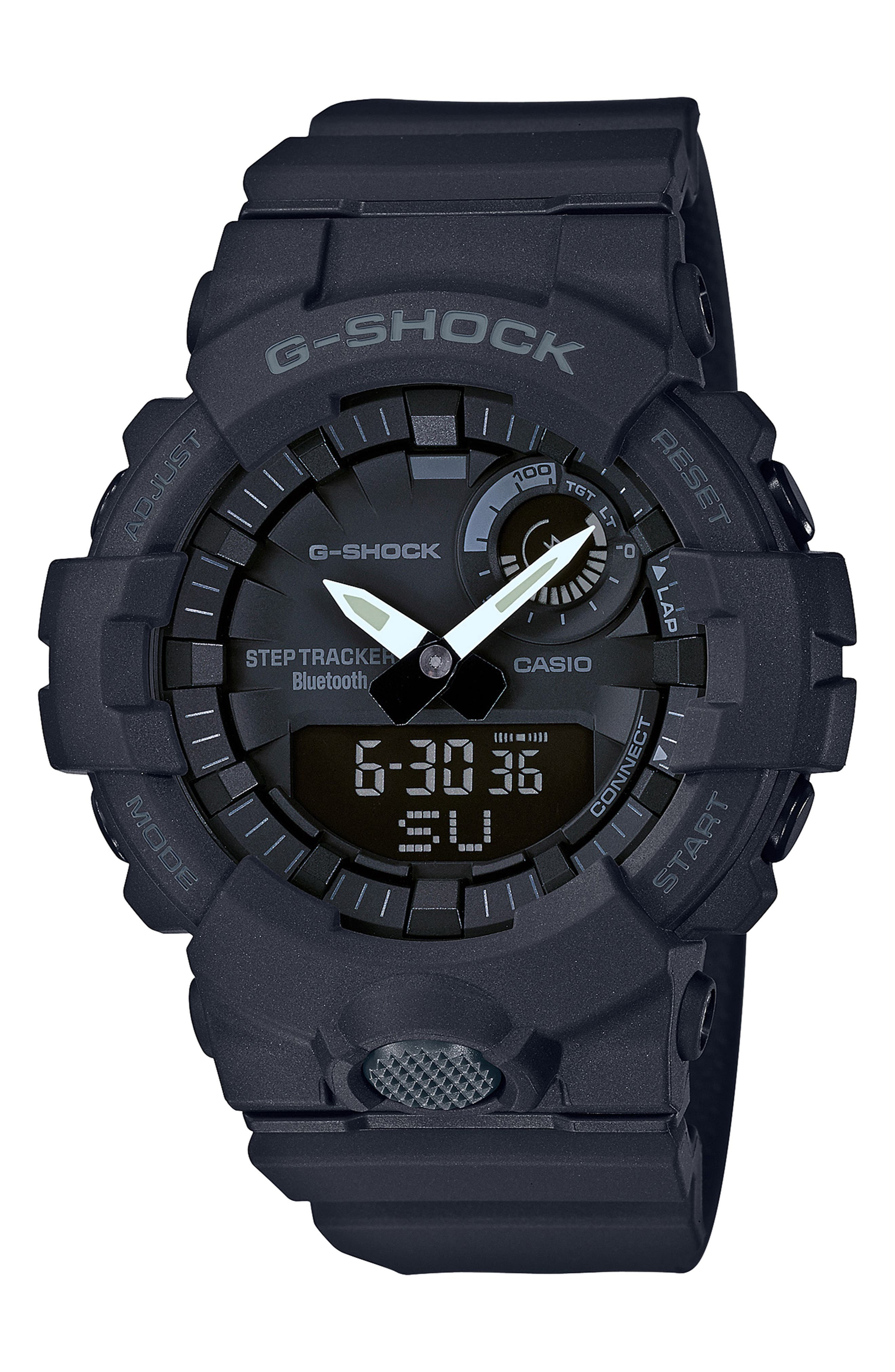 G-Shock Steptracker Bluetooth<sup>®</sup> Enabled Resin Strap Watch, 49mm,                         Main,                         color, BLACK