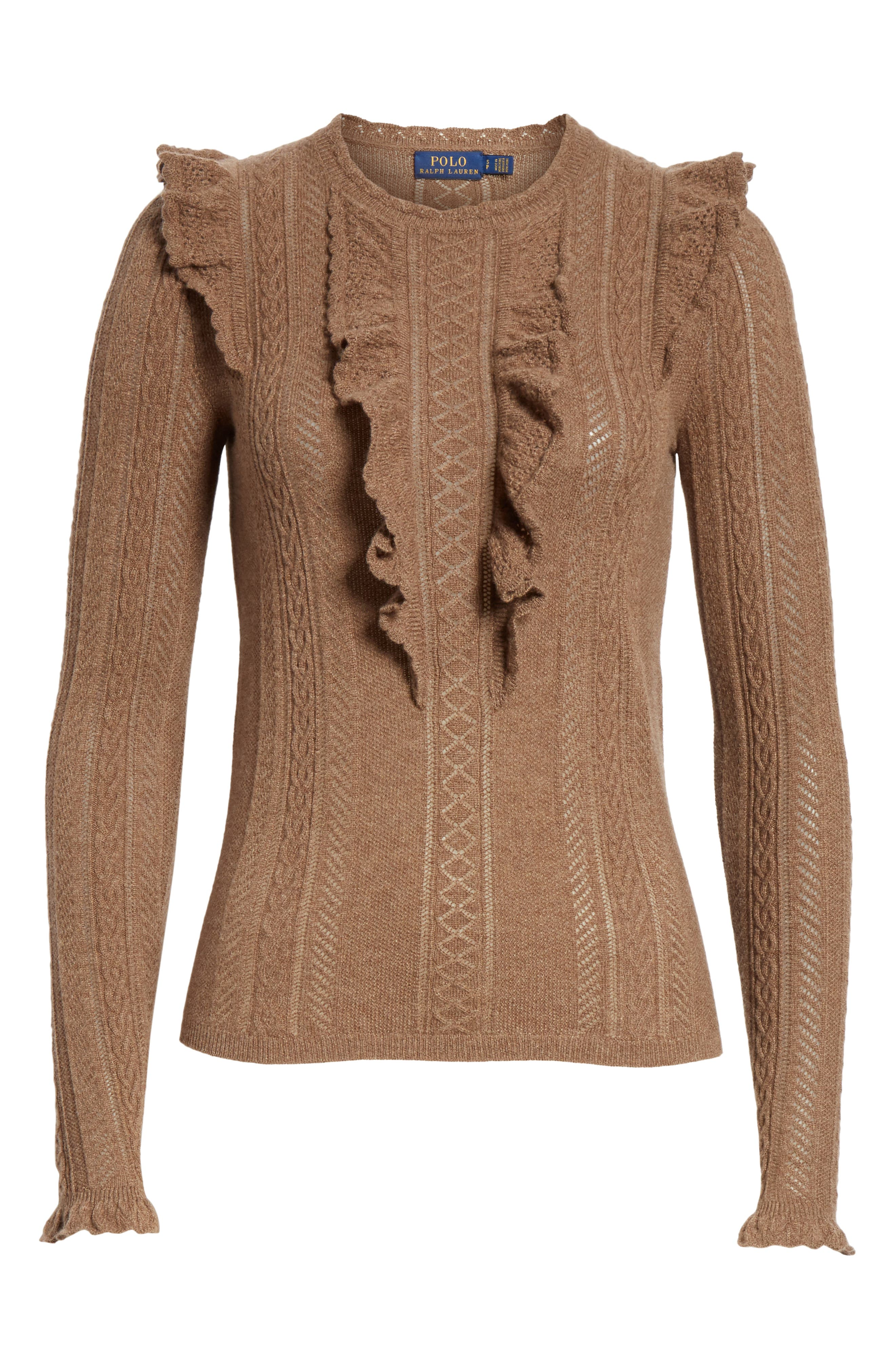 Ruffle Pointelle Sweater,                             Alternate thumbnail 6, color,                             LIGHT BROWN HEATHER