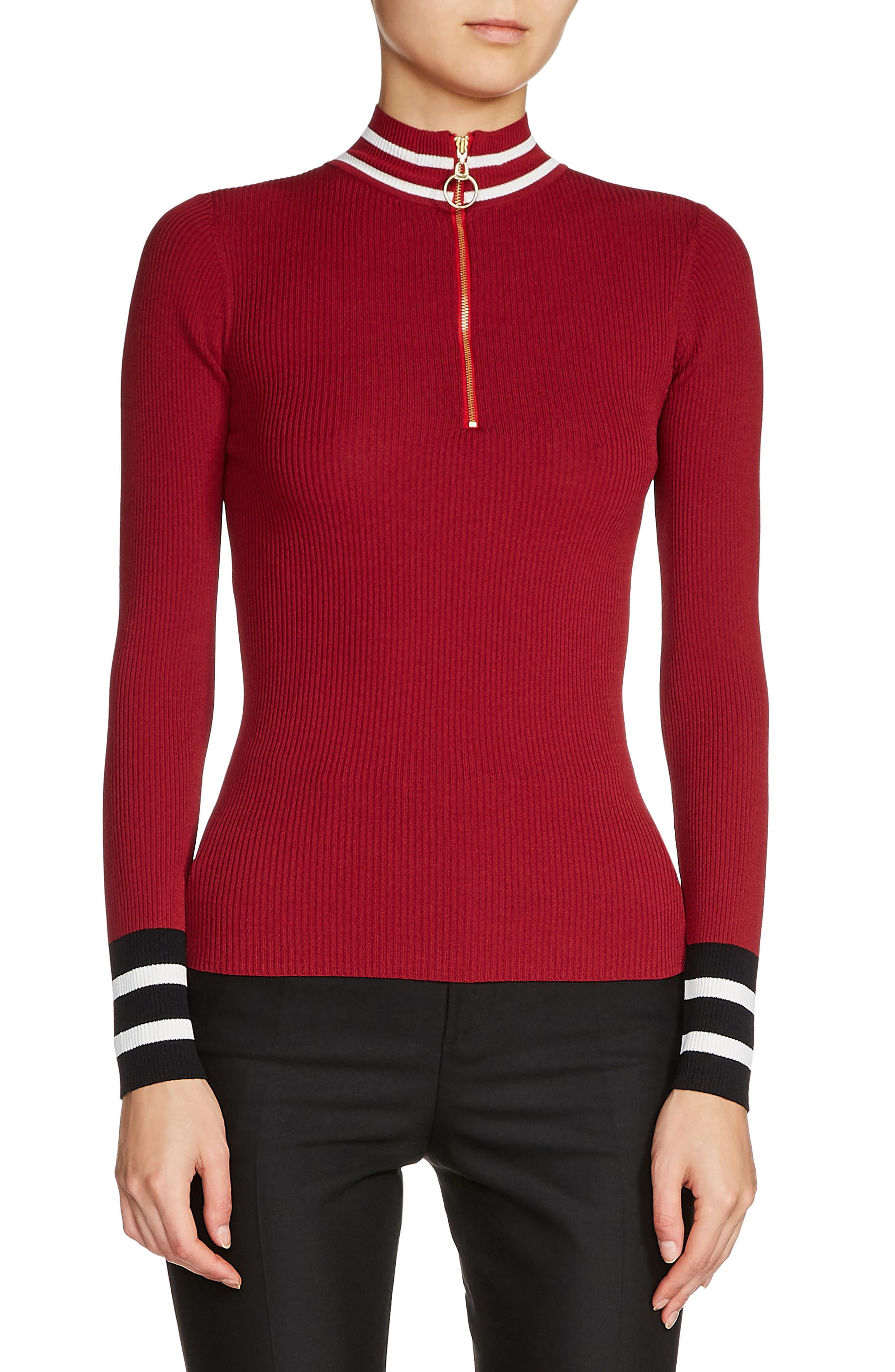Zip Neck Ribbed Sweater,                             Main thumbnail 1, color,                             931