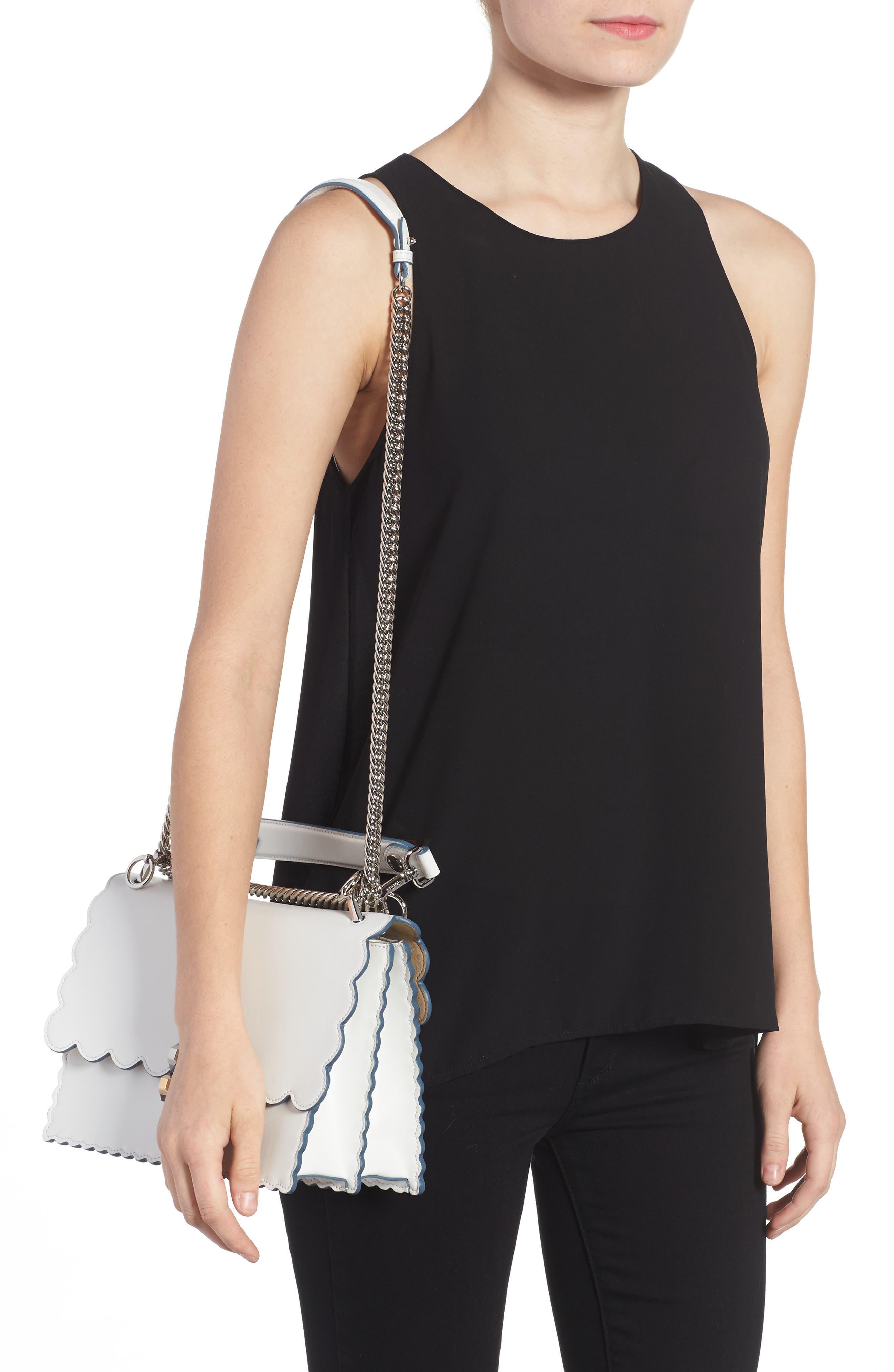 Kan I Scallop Leather Shoulder Bag,                             Alternate thumbnail 2, color,                             WHITE