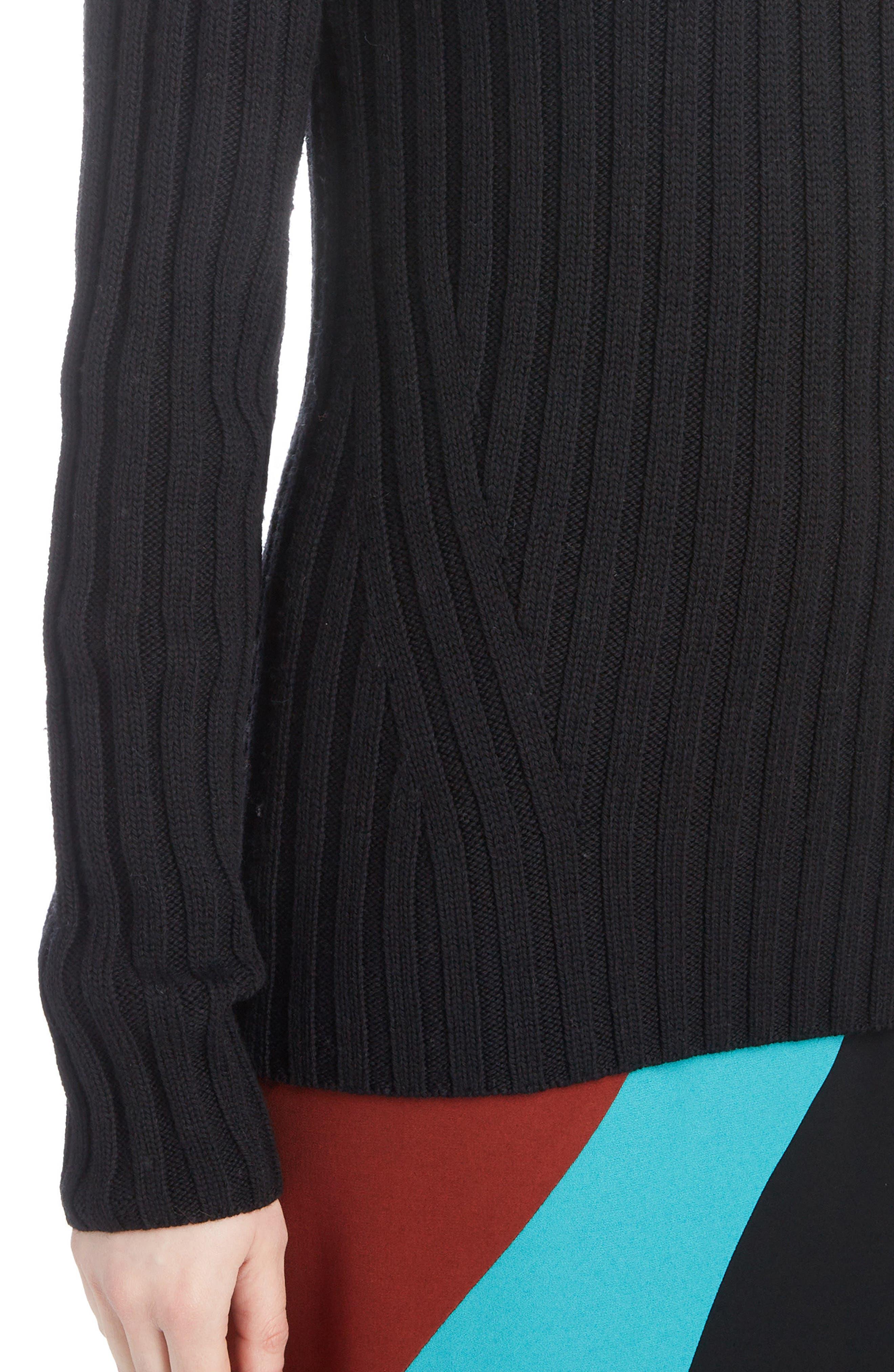 DRIES VAN NOTEN,                             Turtleneck Wool Sweater,                             Alternate thumbnail 4, color,                             BLACK