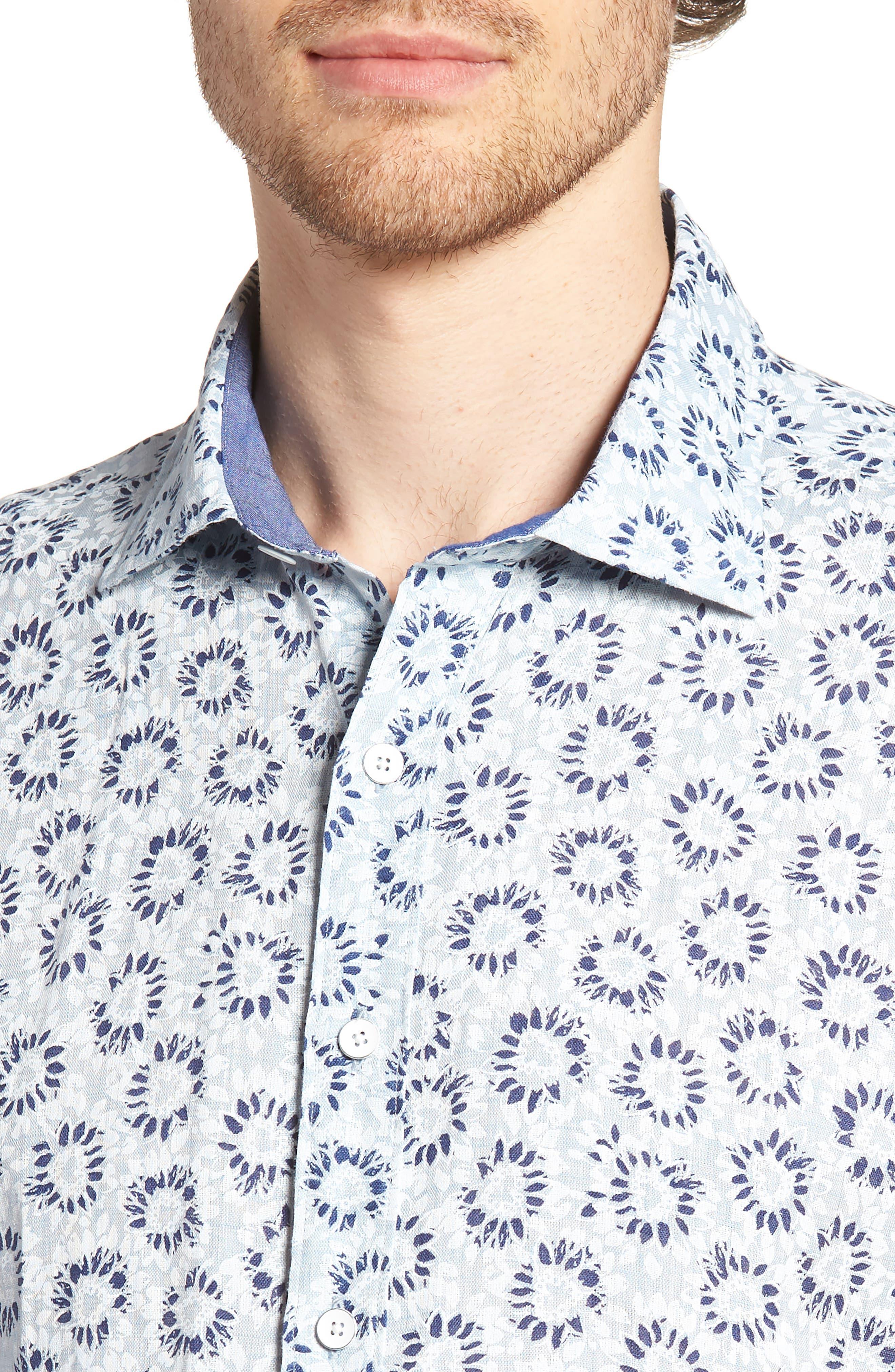 Alford Forest Floral Linen Sport Shirt,                             Alternate thumbnail 4, color,                             SKY