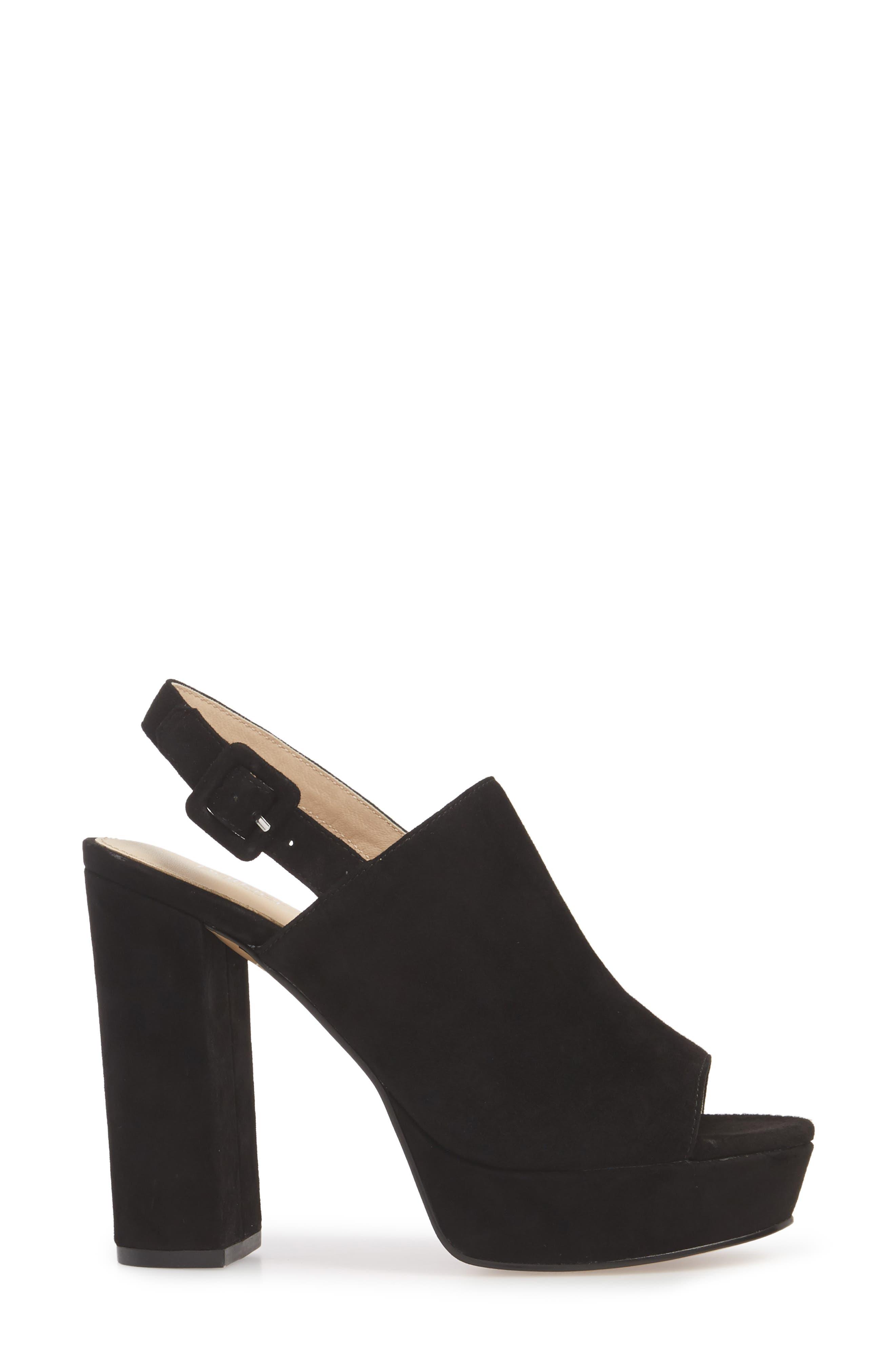 Jolene Platform Sandal,                             Alternate thumbnail 3, color,                             BLACK SUEDE