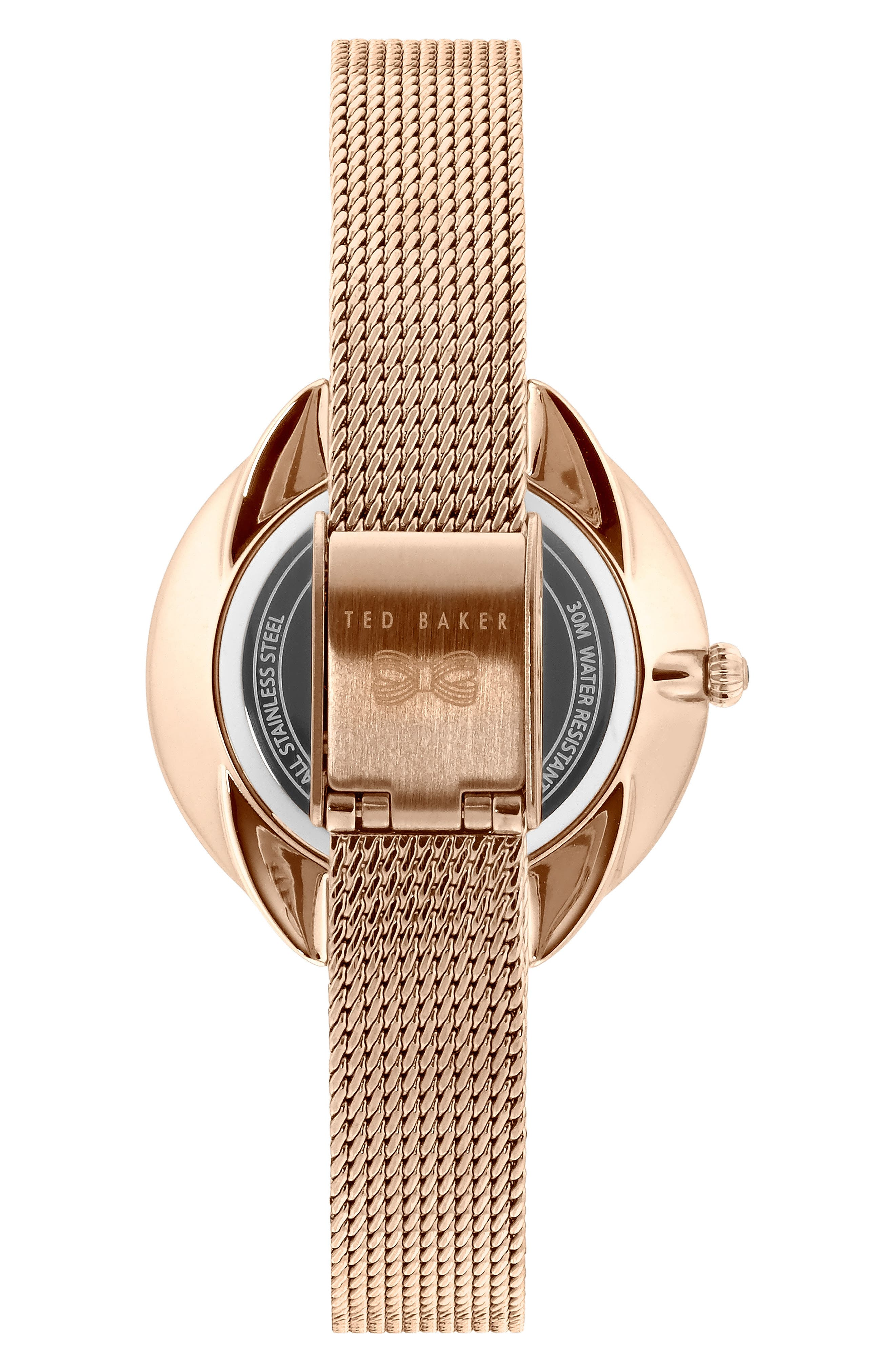Elena Mesh Strap Watch, 30mm,                             Alternate thumbnail 2, color,                             ROSE GOLD/ BLUE MOP/ ROSE GOLD