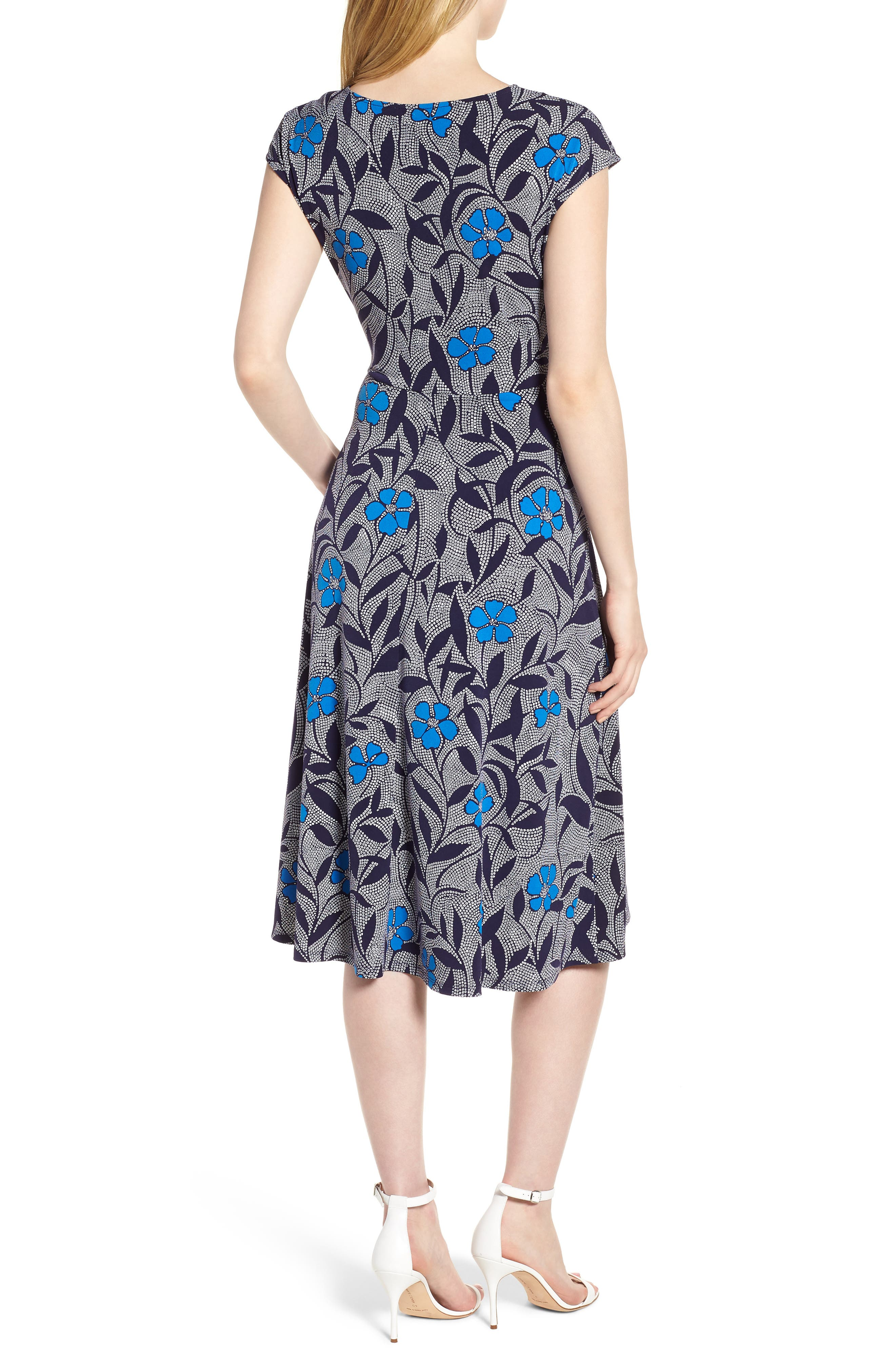Pacific Blooms Stretch Jersey Ruched Dress,                             Alternate thumbnail 2, color,