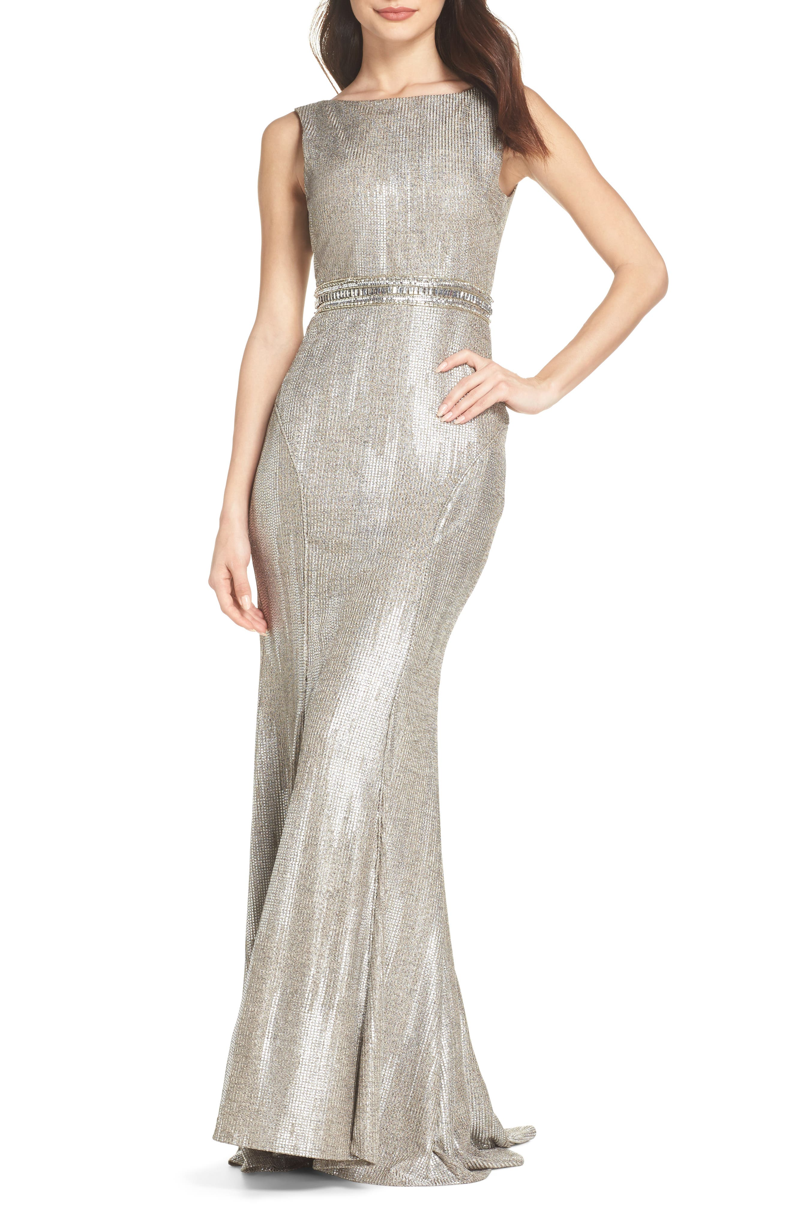 Ieena For MAC Duggal V-Back Mermaid Gown, Metallic