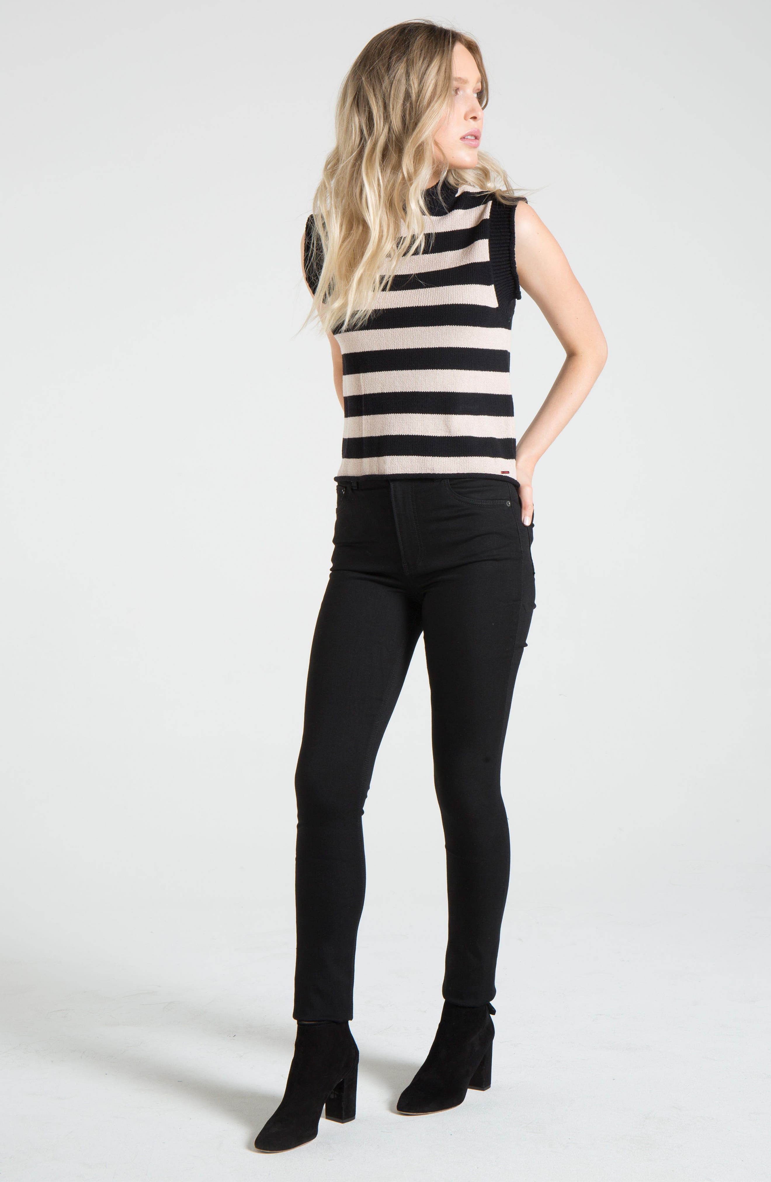 Tenny Stripe Sleeveless Sweater,                             Alternate thumbnail 8, color,                             BLACK CAT / AUTUMN STRIPE