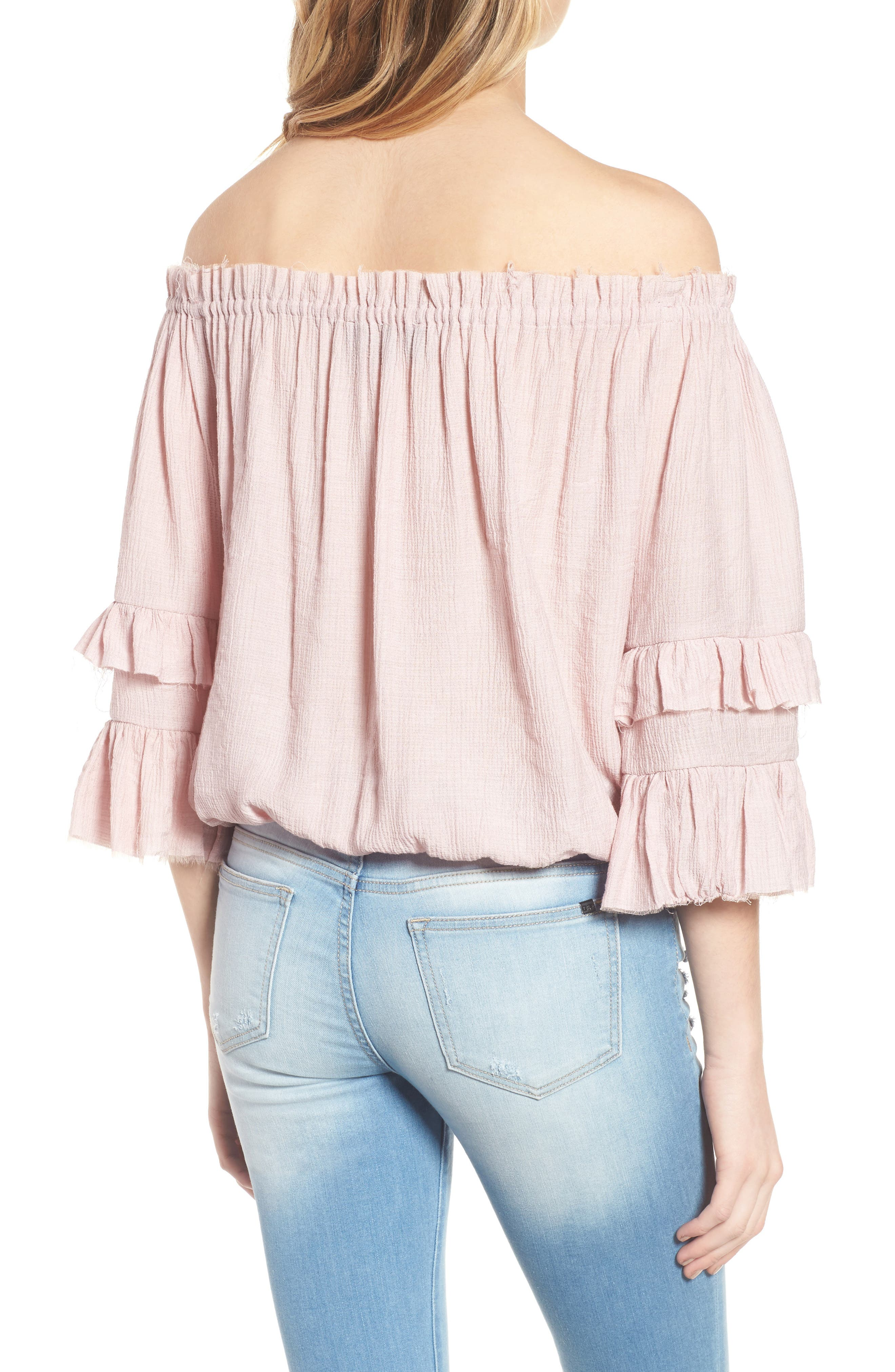 KNOW ONE CARES,                             Tiered Off the Shoulder Top,                             Alternate thumbnail 2, color,                             685