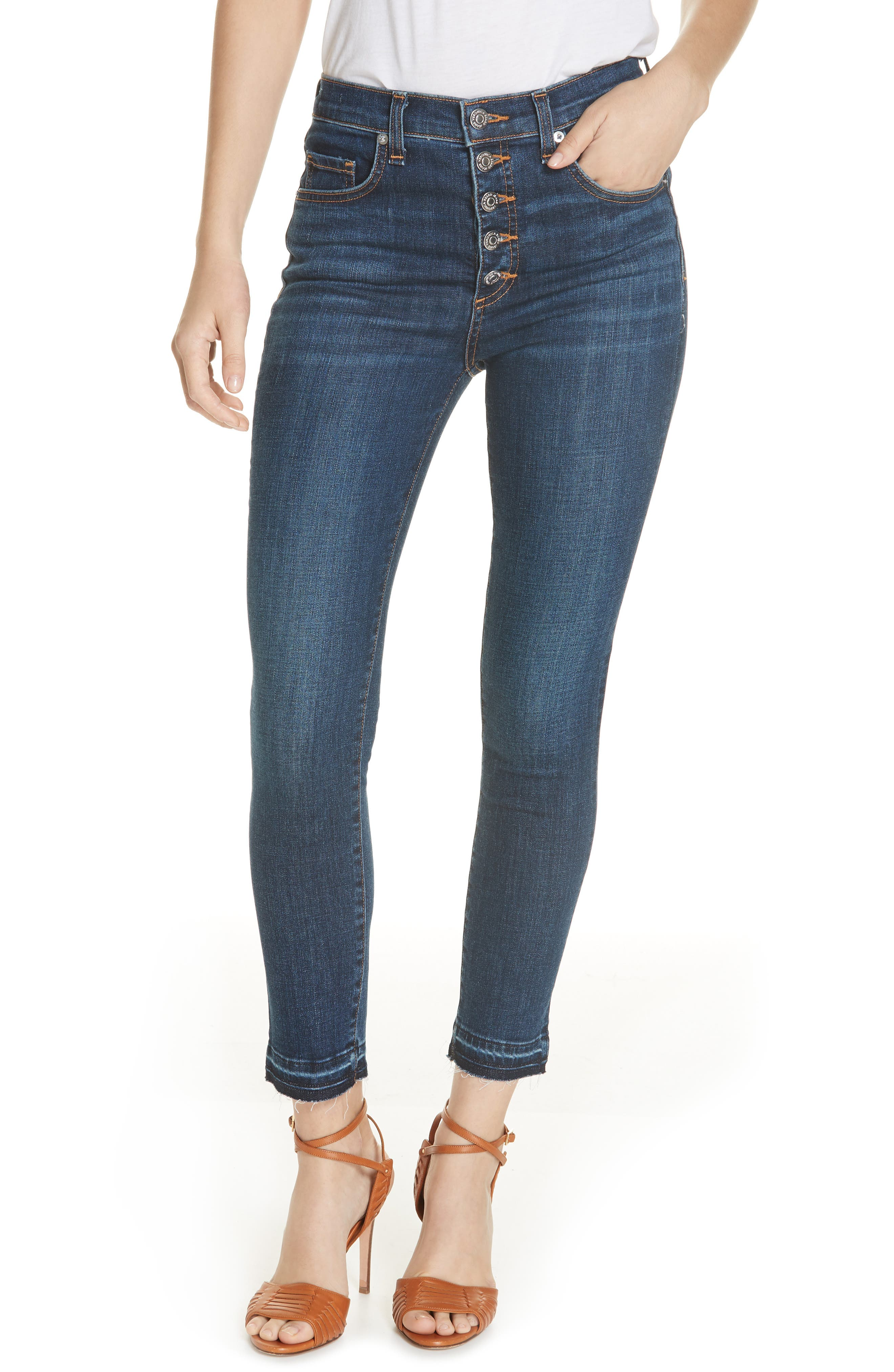 Debbie Frayed Crop Skinny Jeans,                             Main thumbnail 1, color,                             BRIGHT BLUE