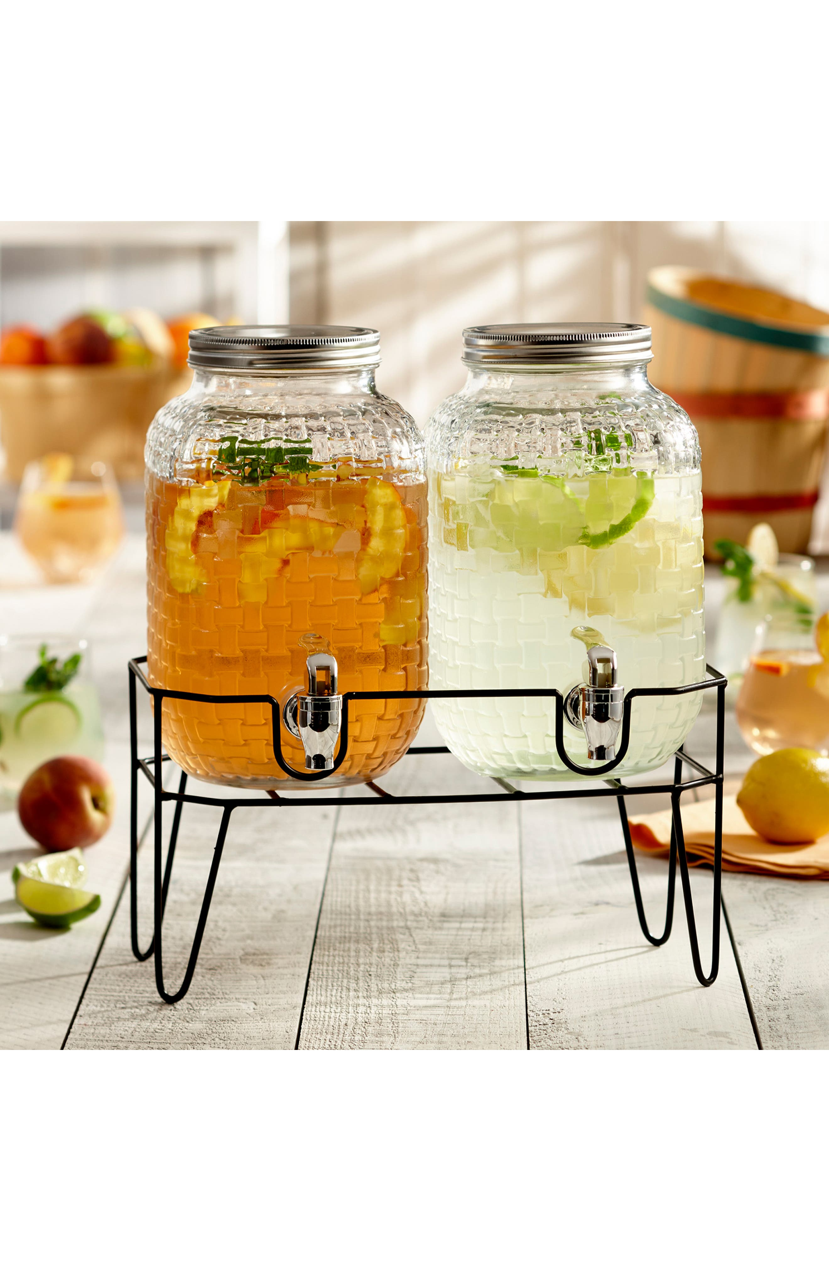 Theo Set of 2 Beverage Dispensers with Stand,                             Alternate thumbnail 2, color,                             CLEAR