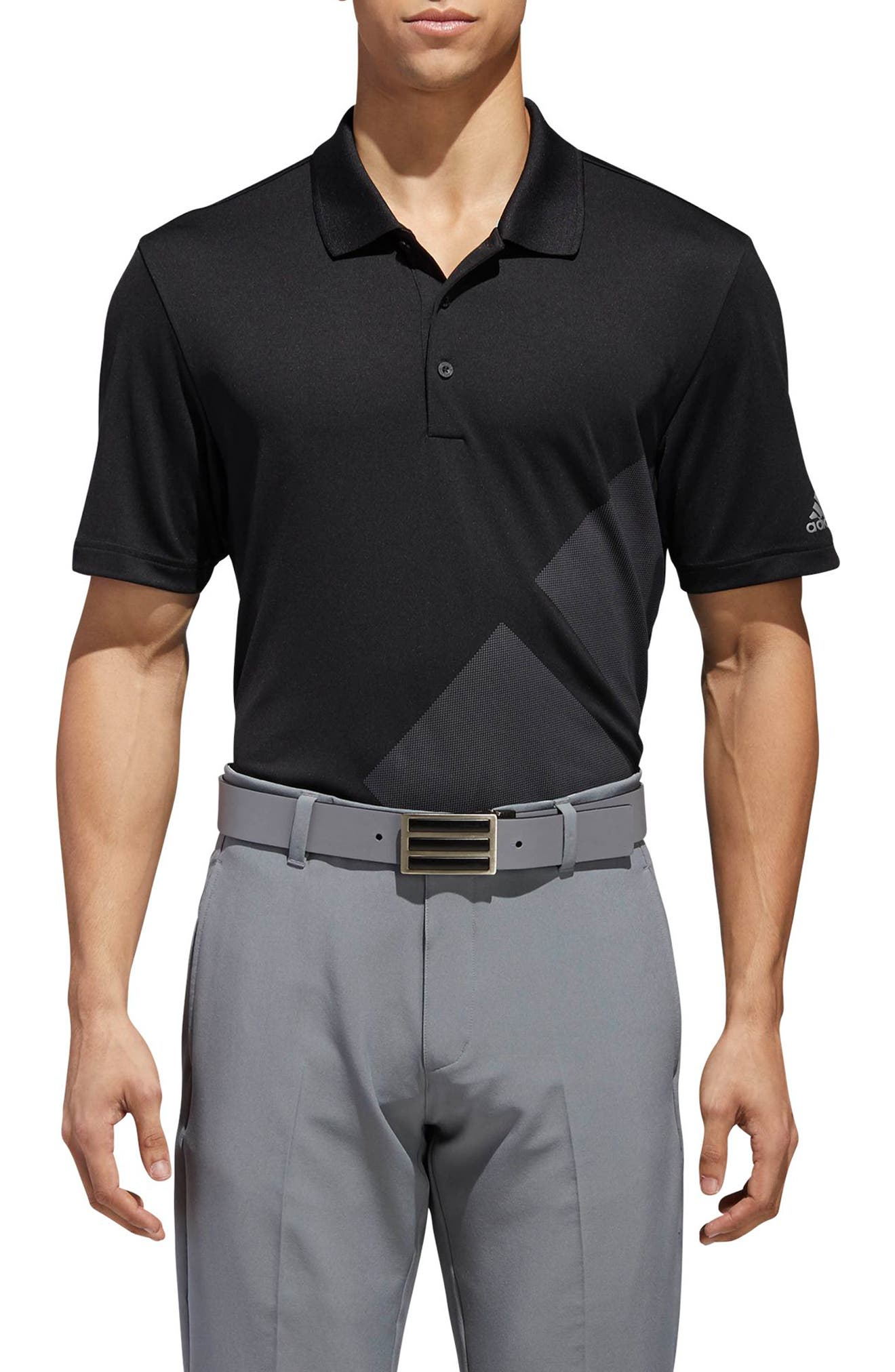 adidas 3-Stripes Regular Fit Golf Polo,                         Main,                         color, BLACK/ GREY