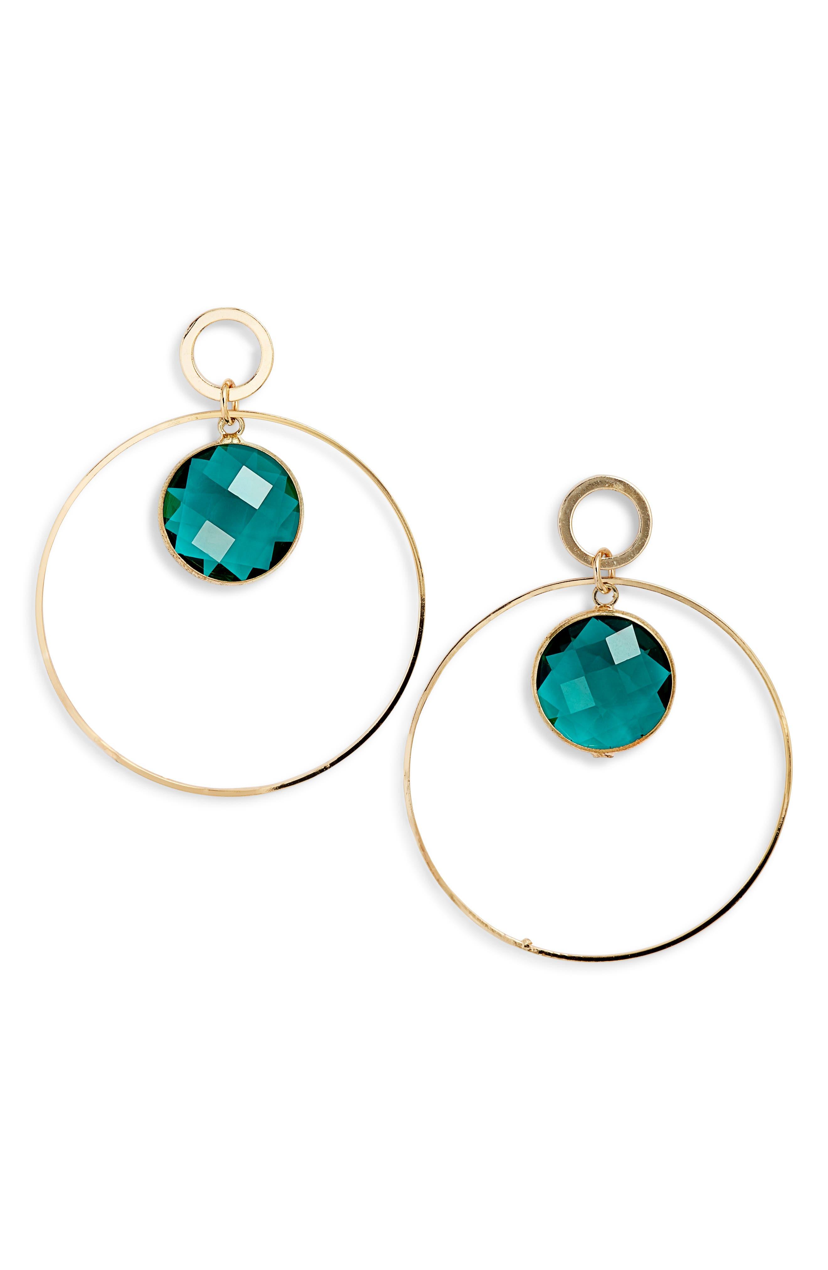ELISE M. Crystal Hoop Earrings in Gold/ Emerald