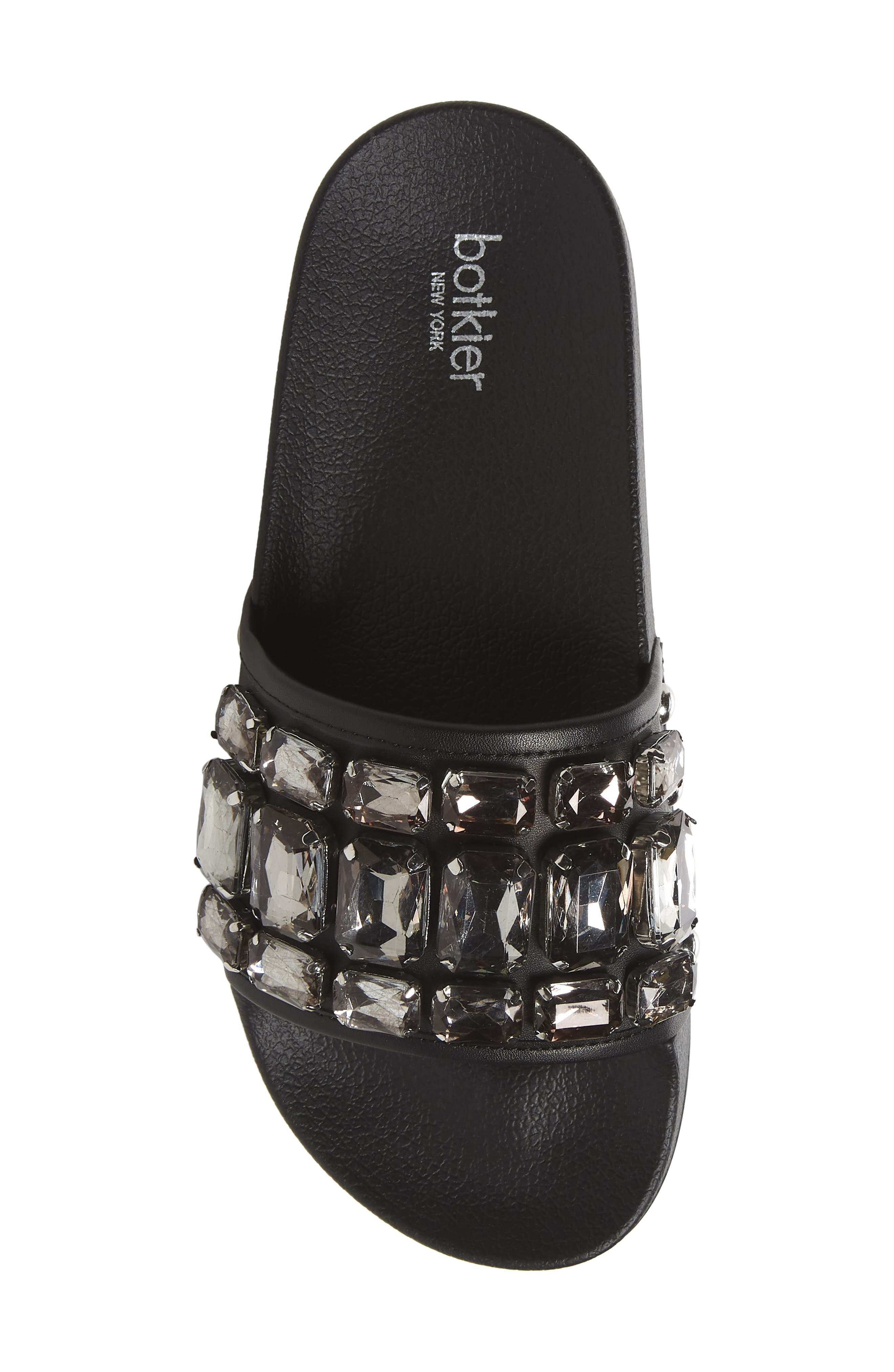 Freda Crystal Slide Sandal,                             Alternate thumbnail 5, color,                             BLACK LEATHER
