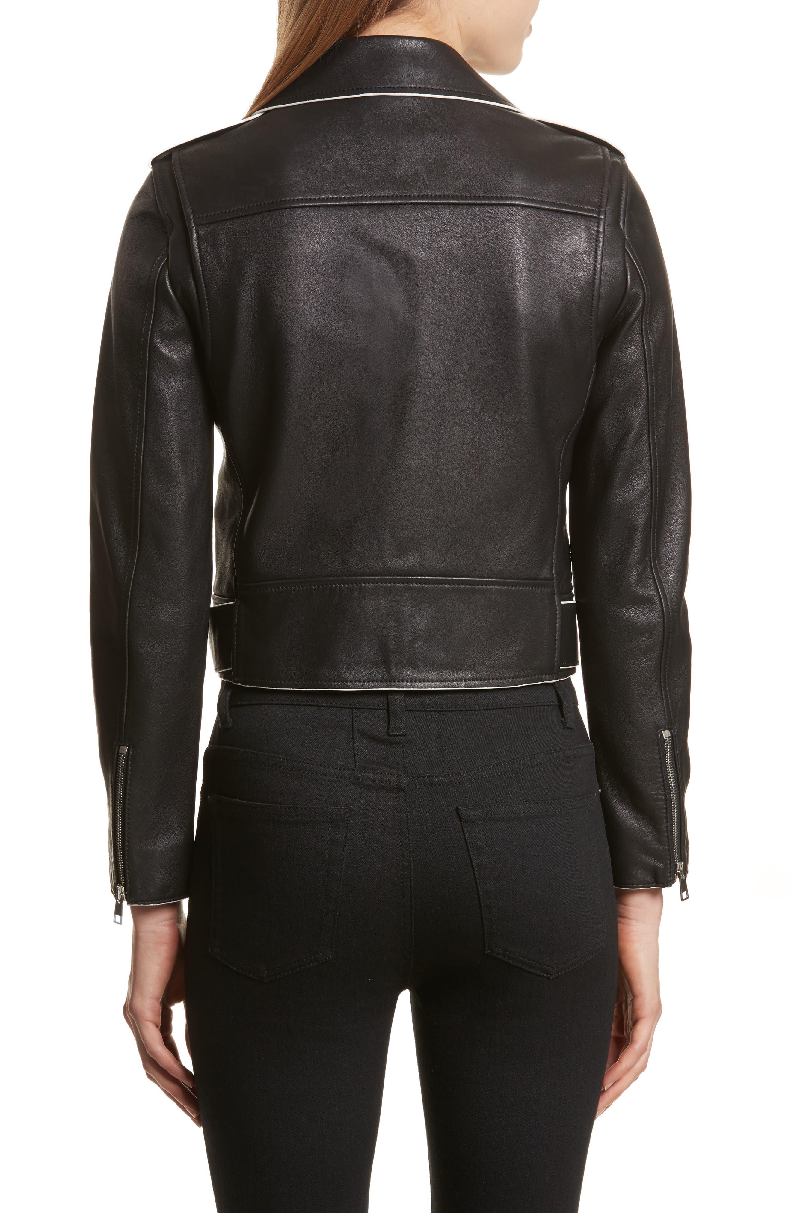 Painted Edge Shrunken Leather Moto Jacket,                             Alternate thumbnail 2, color,                             001