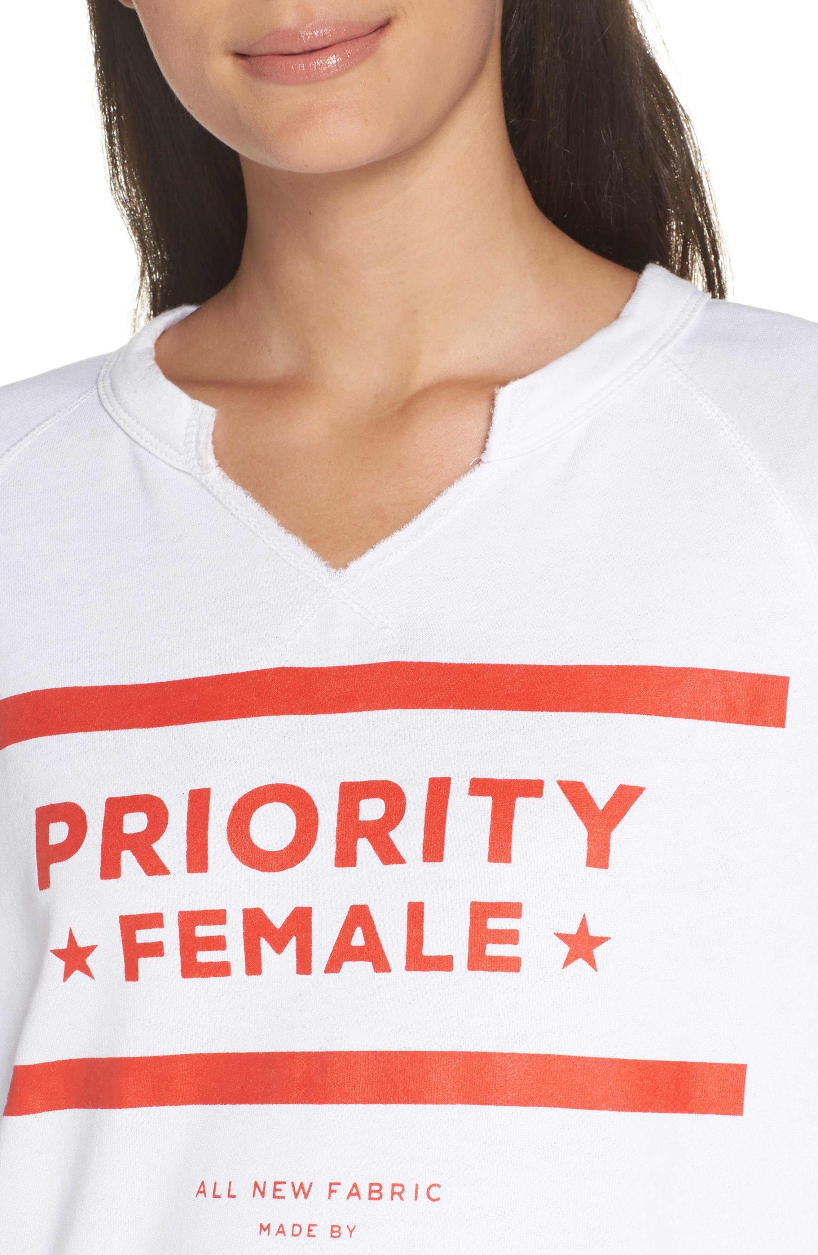 Priority Female Sweatshirt,                             Alternate thumbnail 4, color,                             WHITE