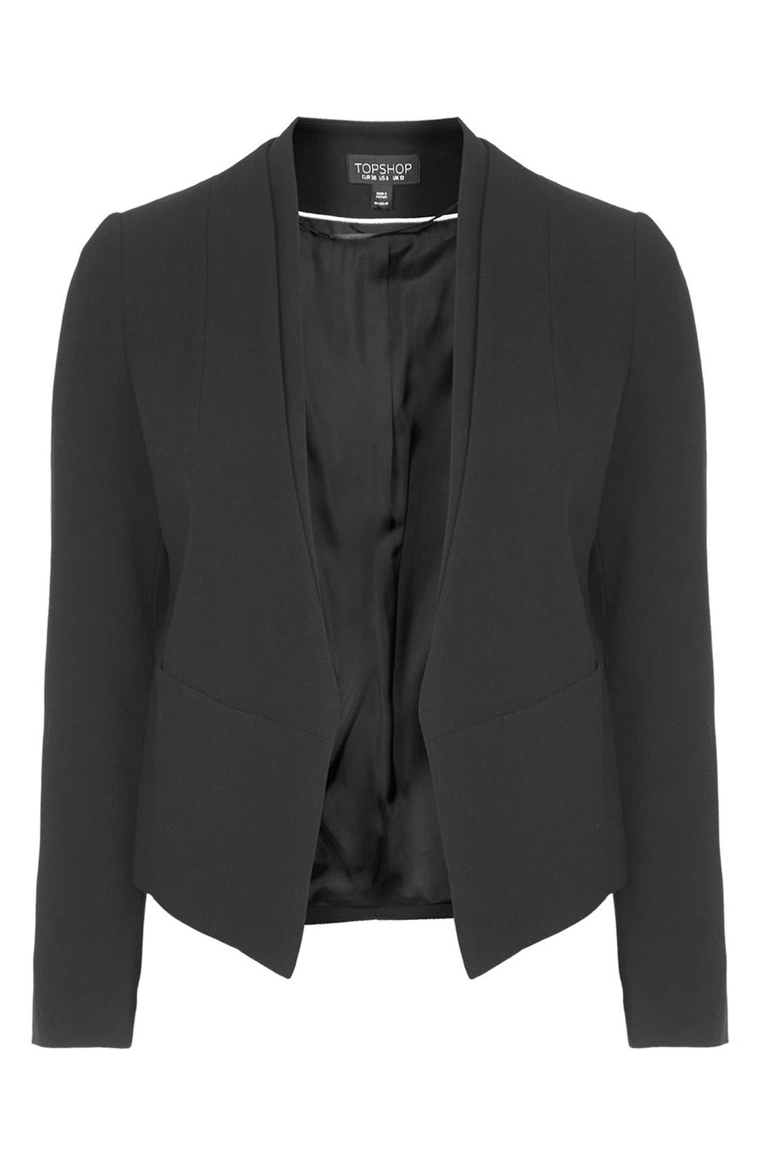 'Poppy' Double Collar Blazer,                             Alternate thumbnail 4, color,                             001