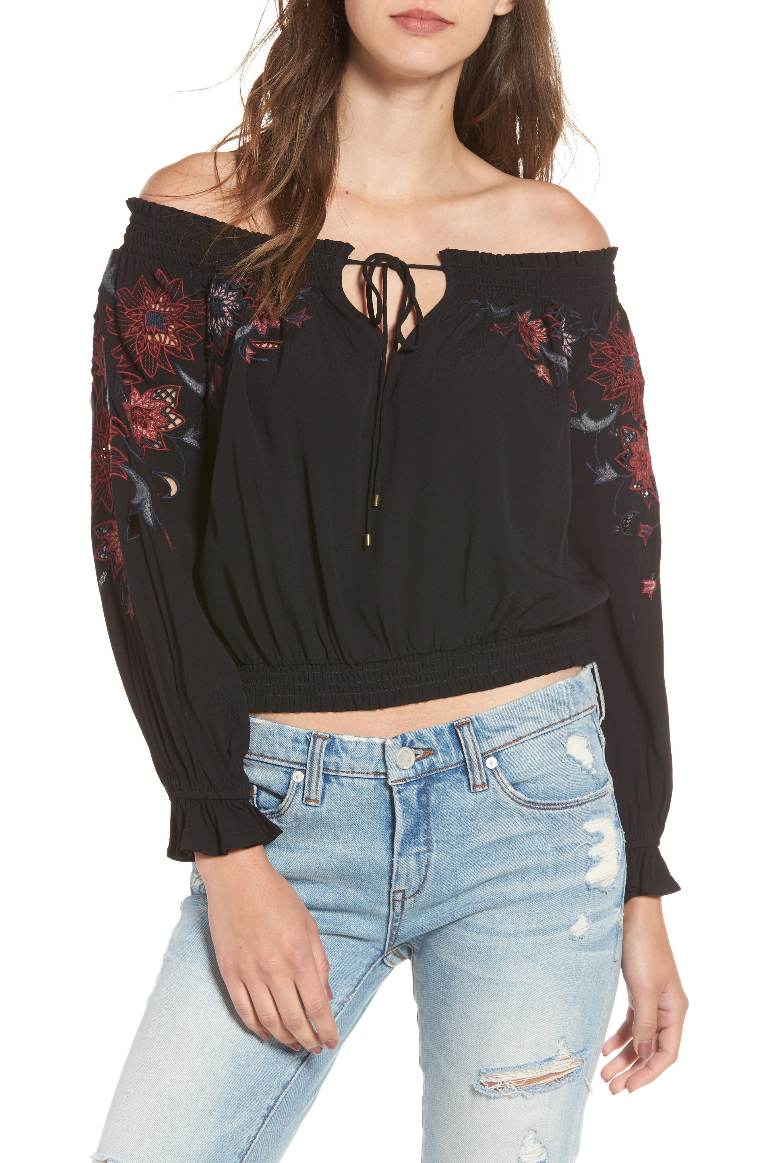 Kelly Off the Shoulder Top,                             Main thumbnail 1, color,                             001