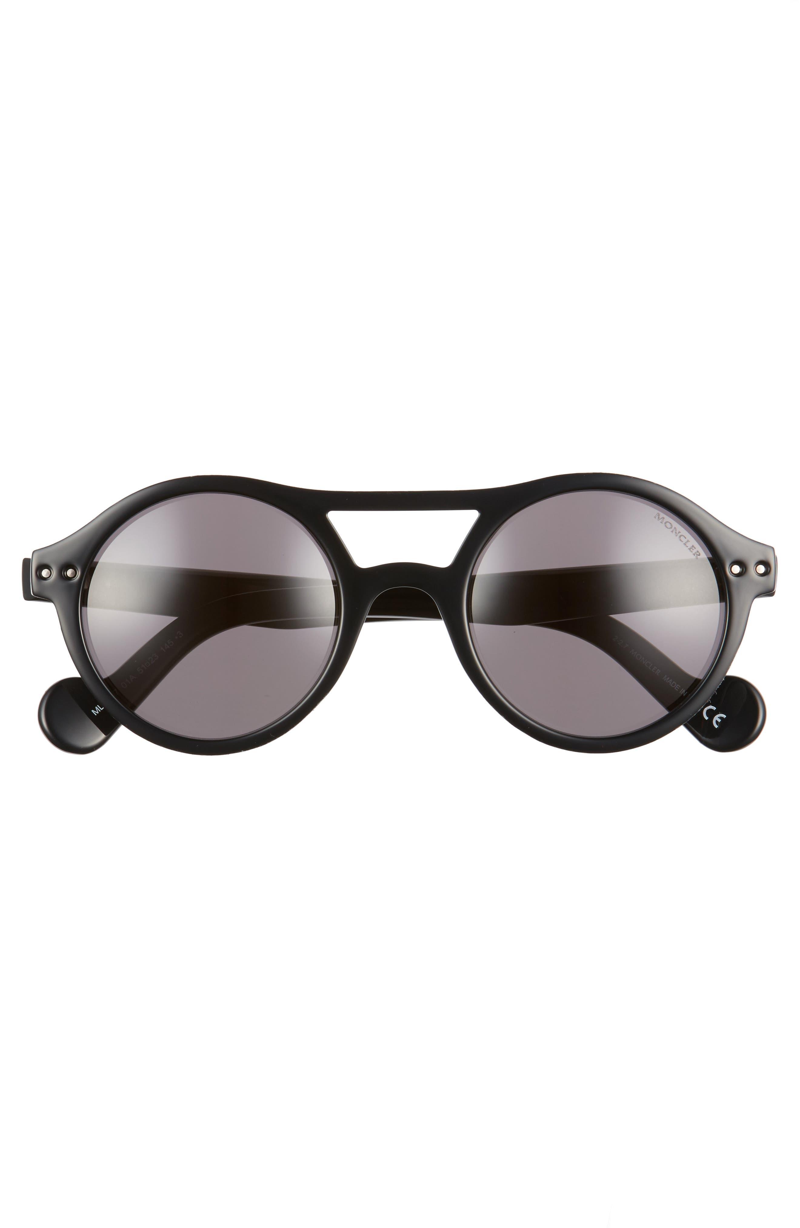 51mm Round Sunglasses,                             Alternate thumbnail 3, color,                             BLACK/ SMOKE