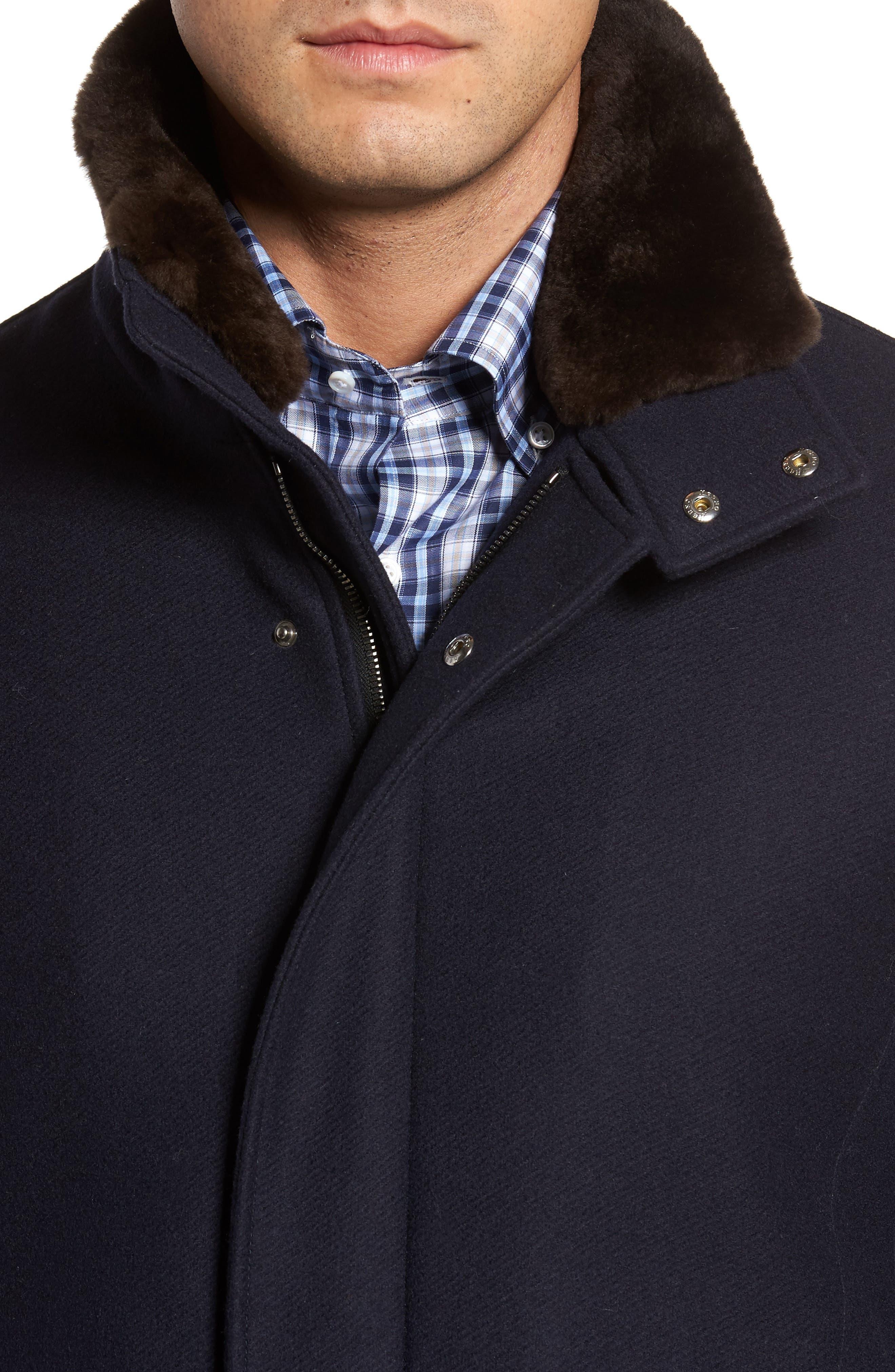 Genuine Beaver Fur Collar Wool Blend Coat,                             Alternate thumbnail 4, color,                             400
