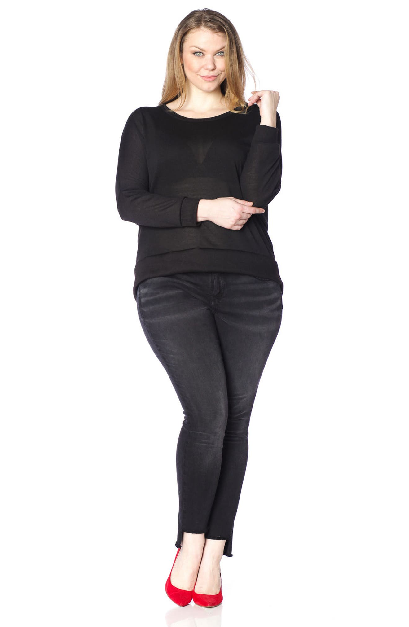 Dolman Sleeve Ribbed Pullover,                             Alternate thumbnail 4, color,                             001