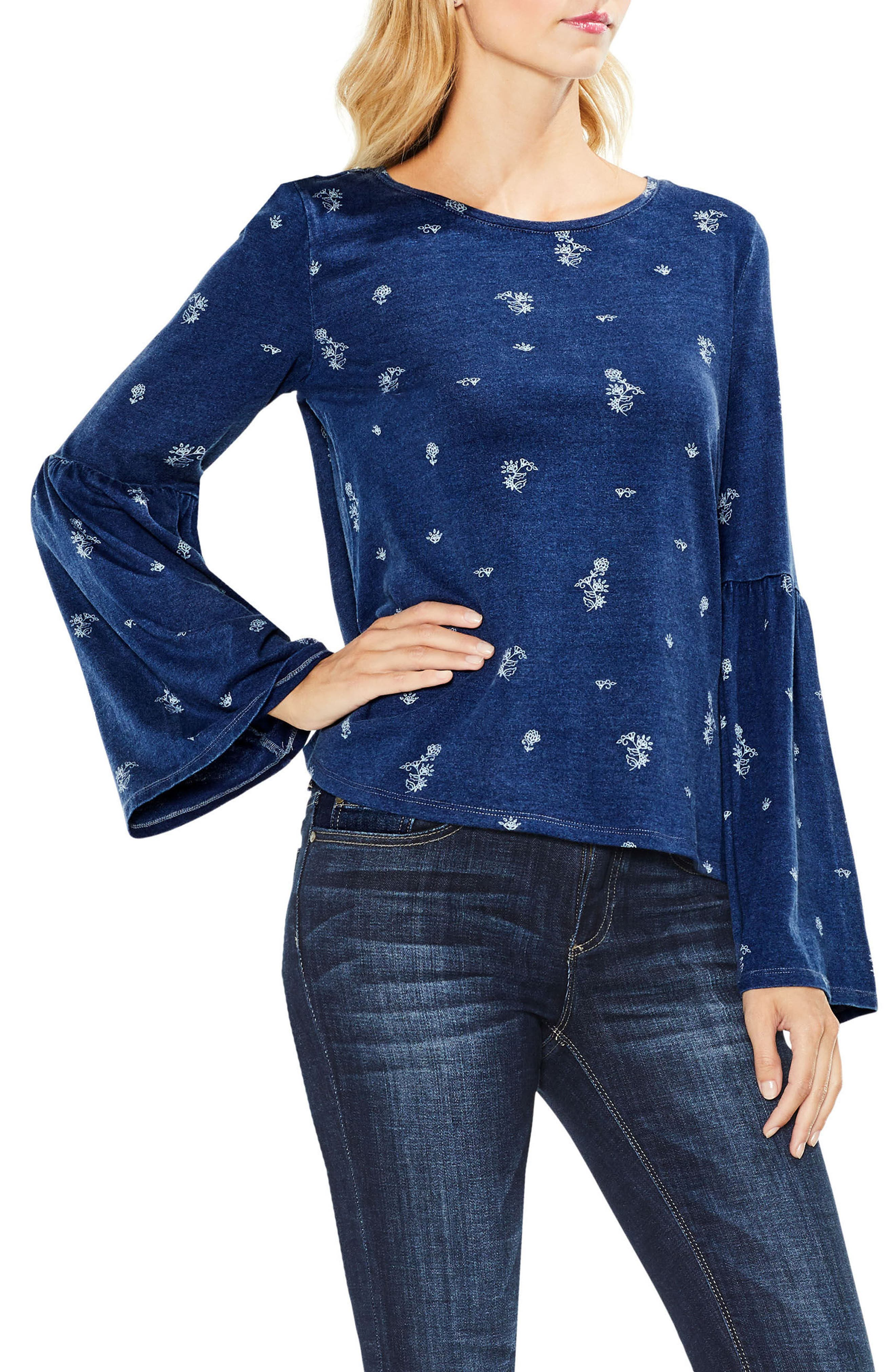 Delicate Ditsy Bell Sleeve Top,                             Main thumbnail 1, color,                             412