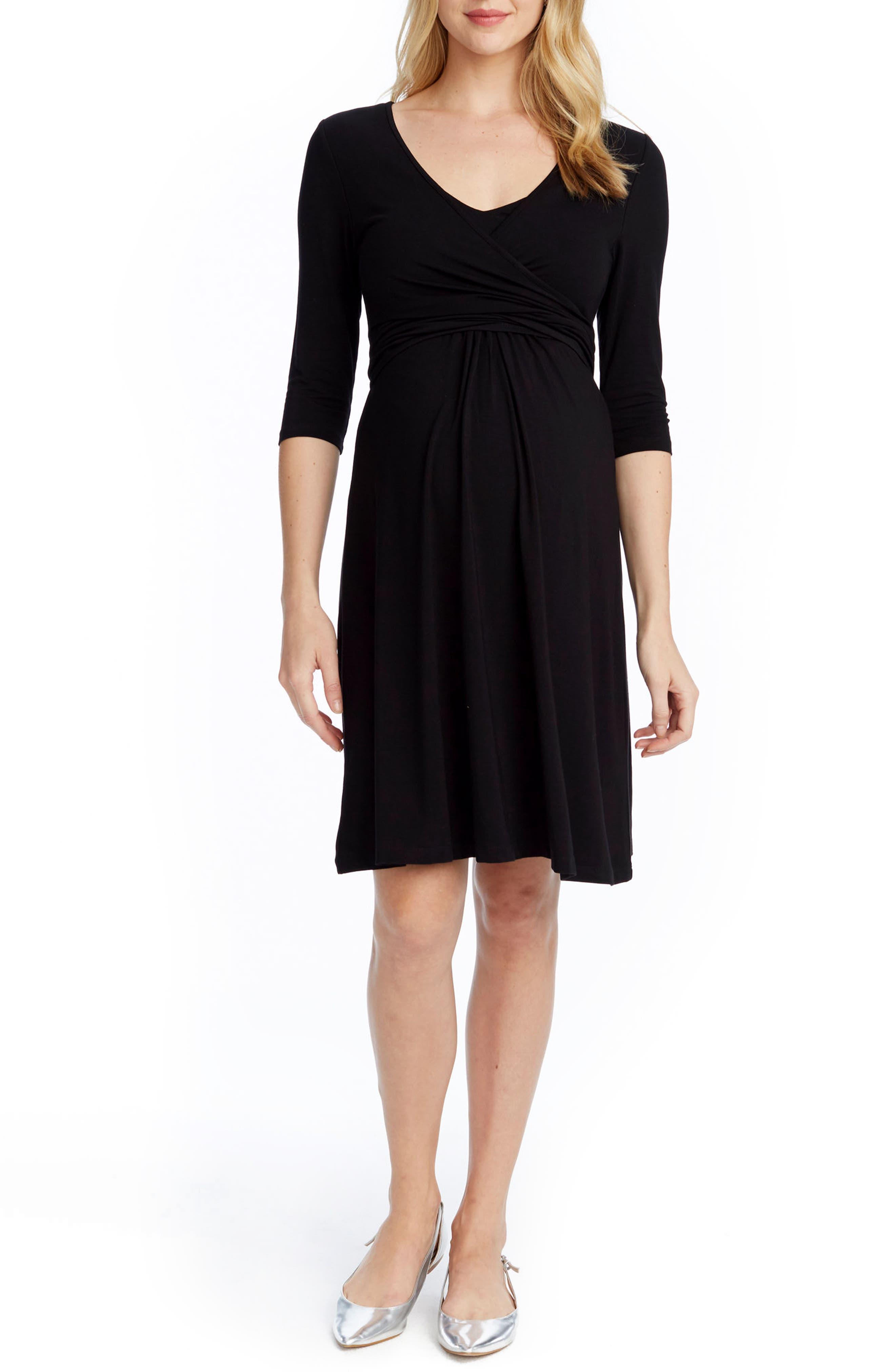 Maternity/Nursing Wrap Dress,                         Main,                         color, 001