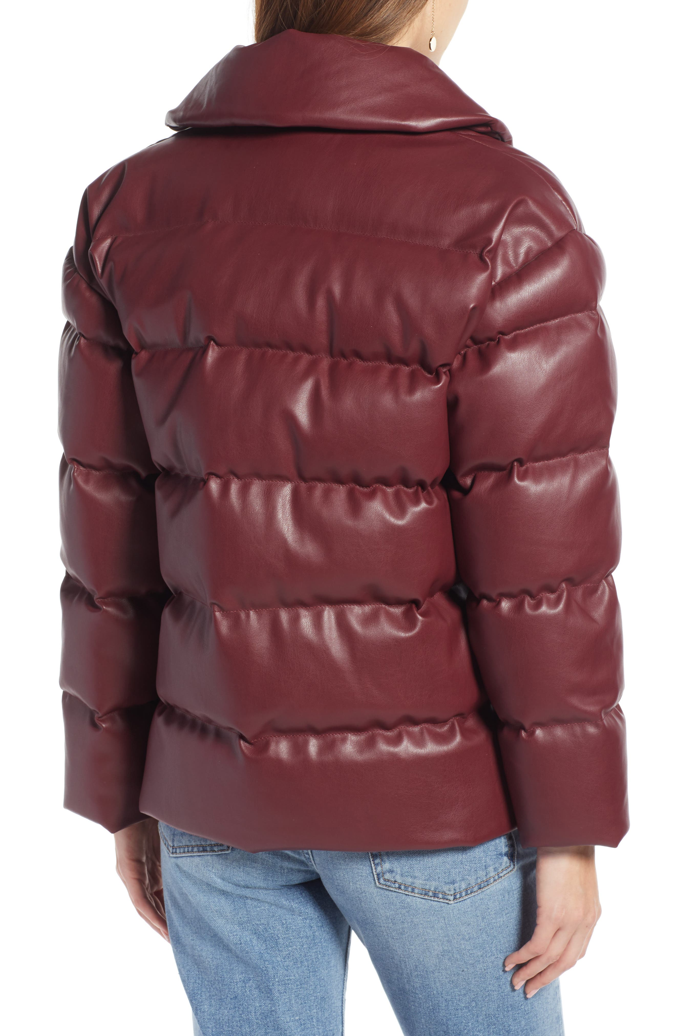SOMETHING NAVY,                             Faux Leather Puffer Coat,                             Alternate thumbnail 2, color,                             601