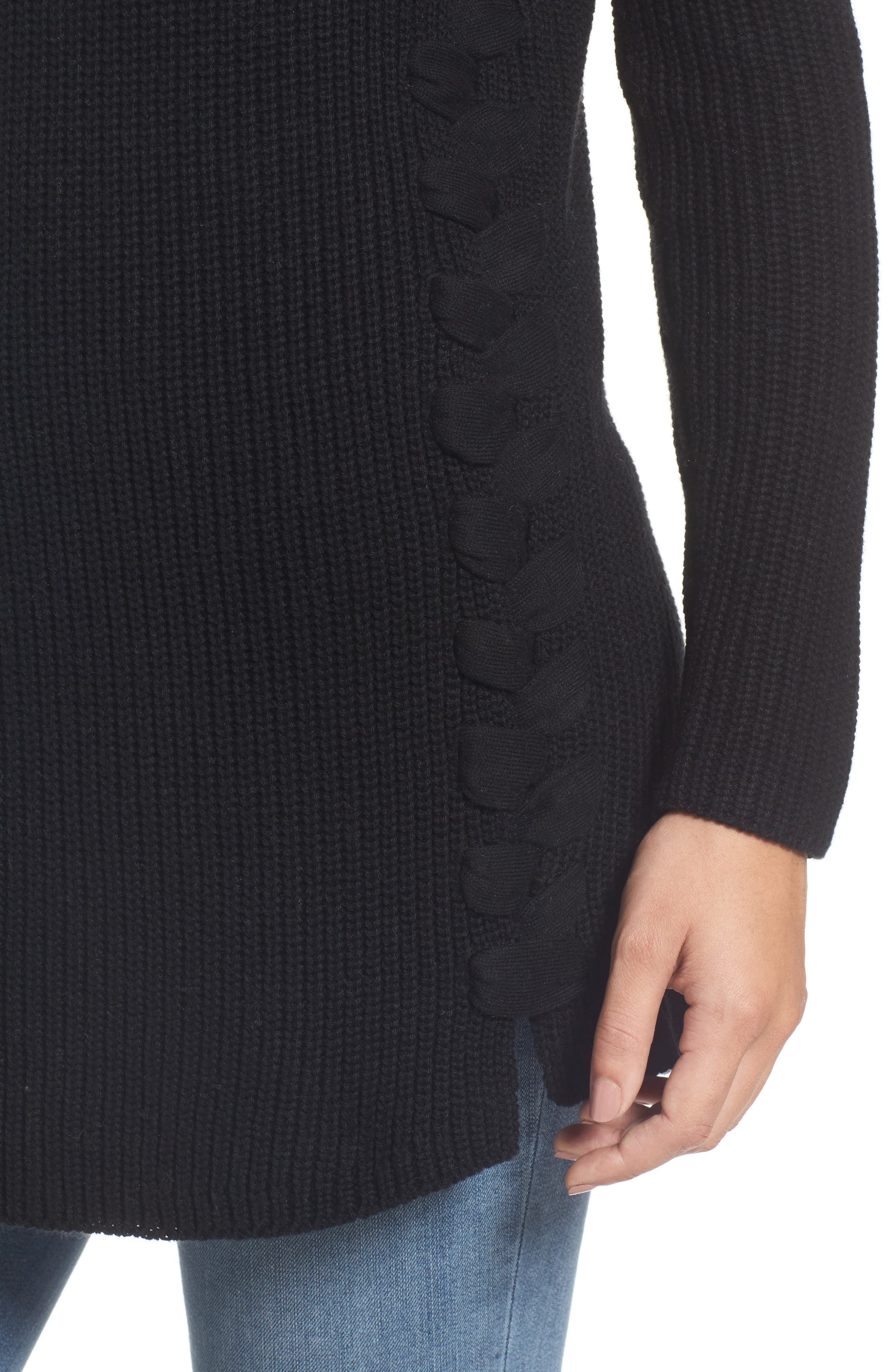 Lace-Up Side Tunic Sweater,                             Alternate thumbnail 4, color,                             001