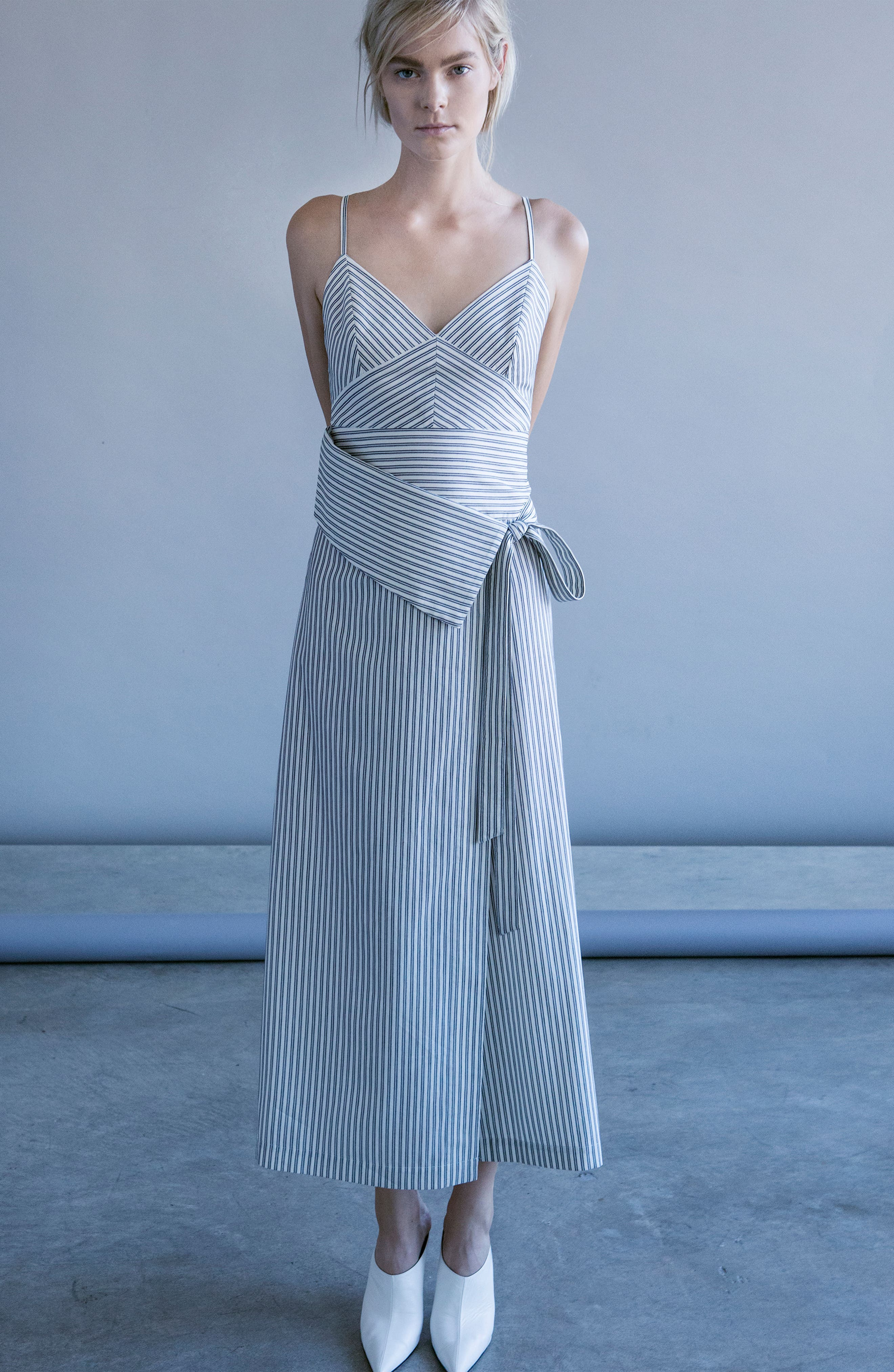 ROBERT RODRIGUEZ,                             Stripe Wrap Front Midi Dress,                             Alternate thumbnail 7, color,                             900
