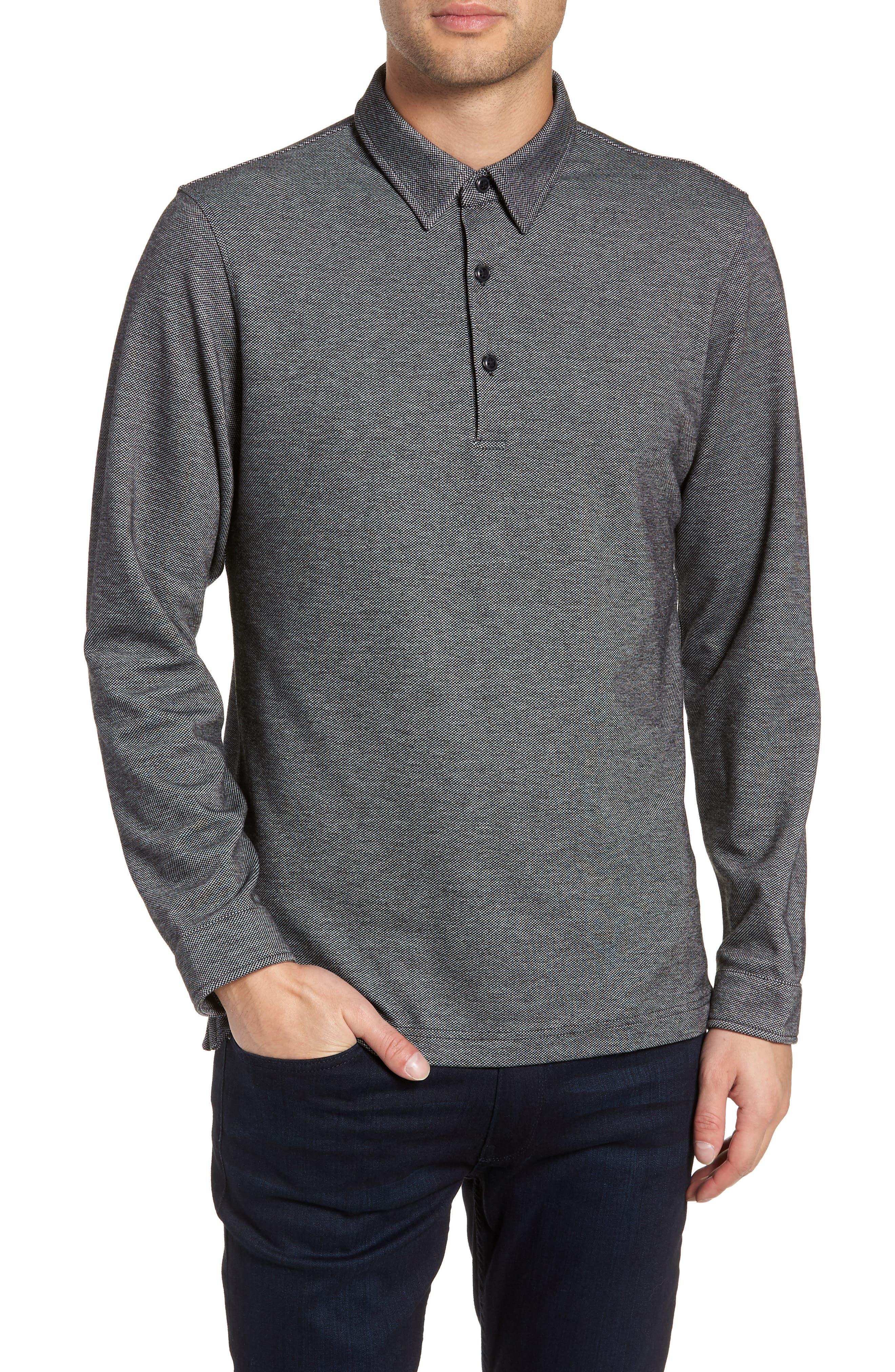 Trim Micro Jacquard Polo Shirt,                         Main,                         color, 001
