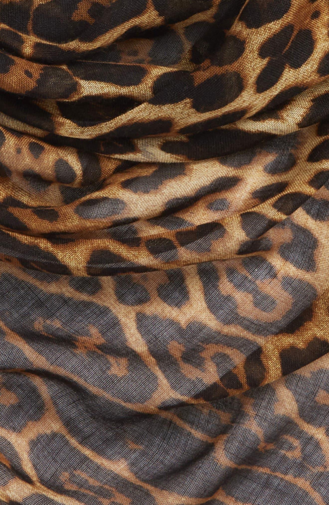 YSL Leopard Print Cashmere & Silk Triangle Scarf,                             Alternate thumbnail 3, color,                             001