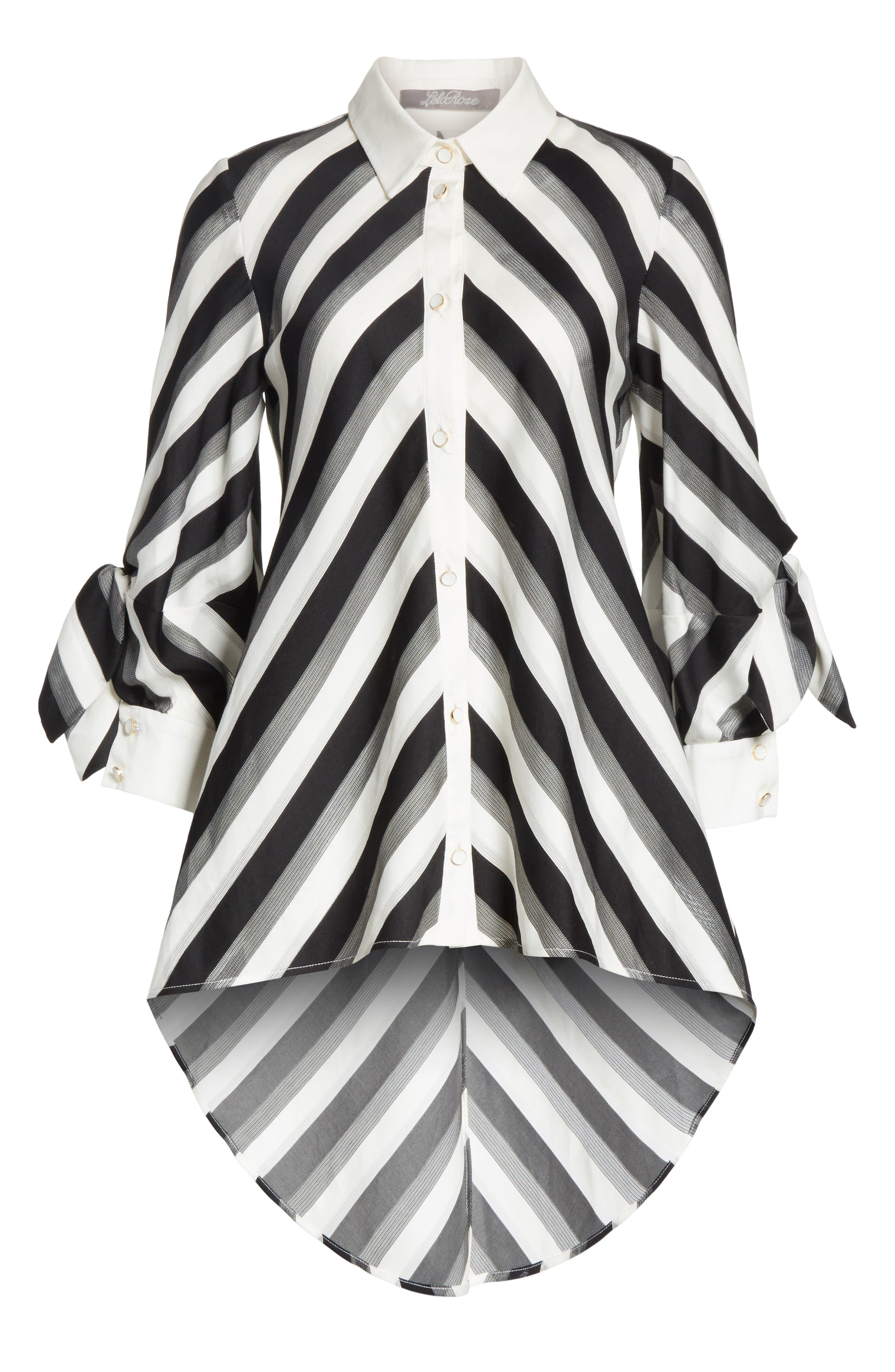 Stripe Bow Sleeve Shirt,                             Alternate thumbnail 6, color,