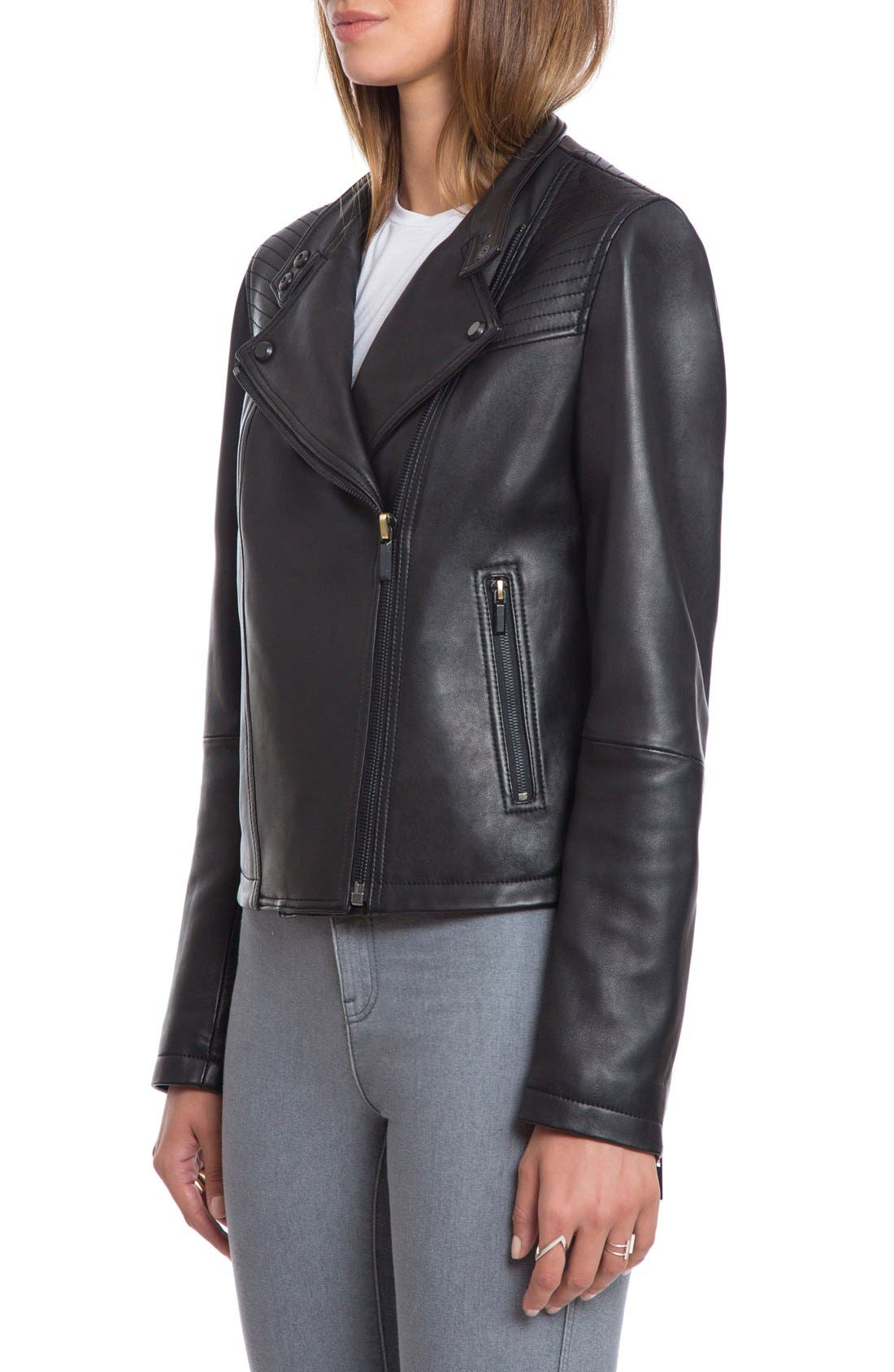 Bagatelle Quilted Lambskin Leather Moto Jacket,                             Alternate thumbnail 15, color,