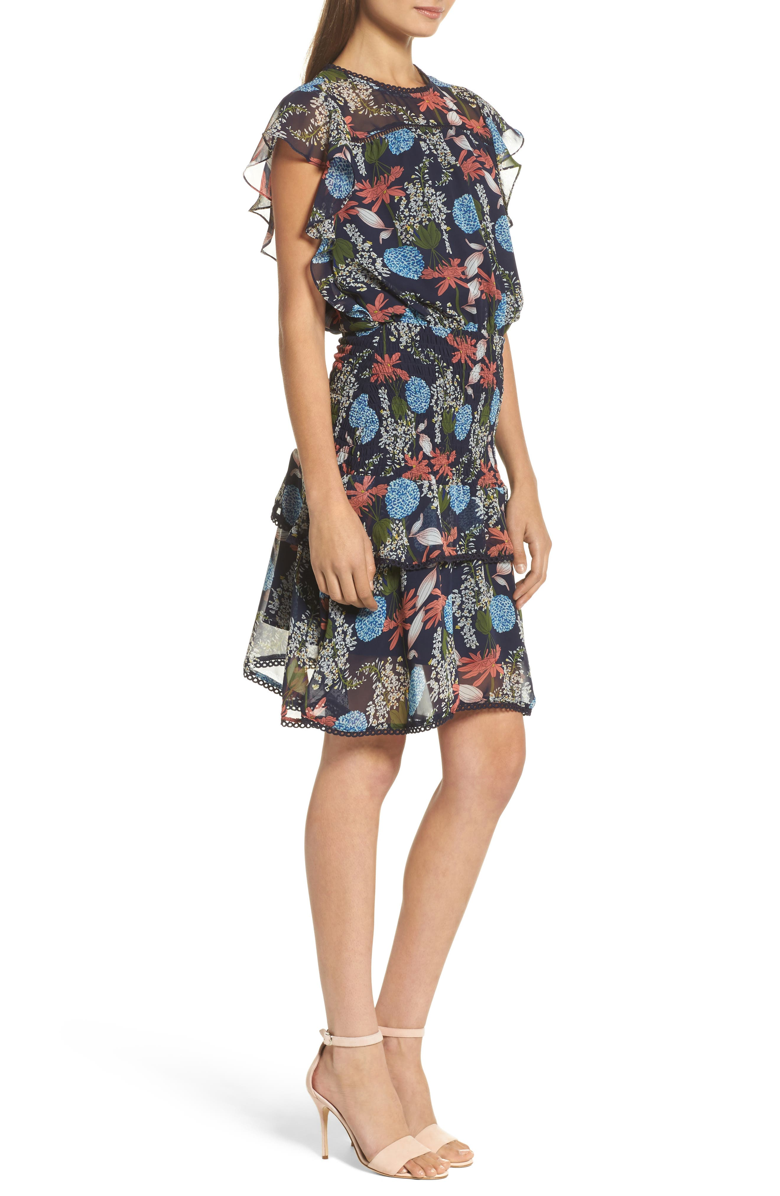 Tiered Blouson Dress,                             Alternate thumbnail 3, color,                             410