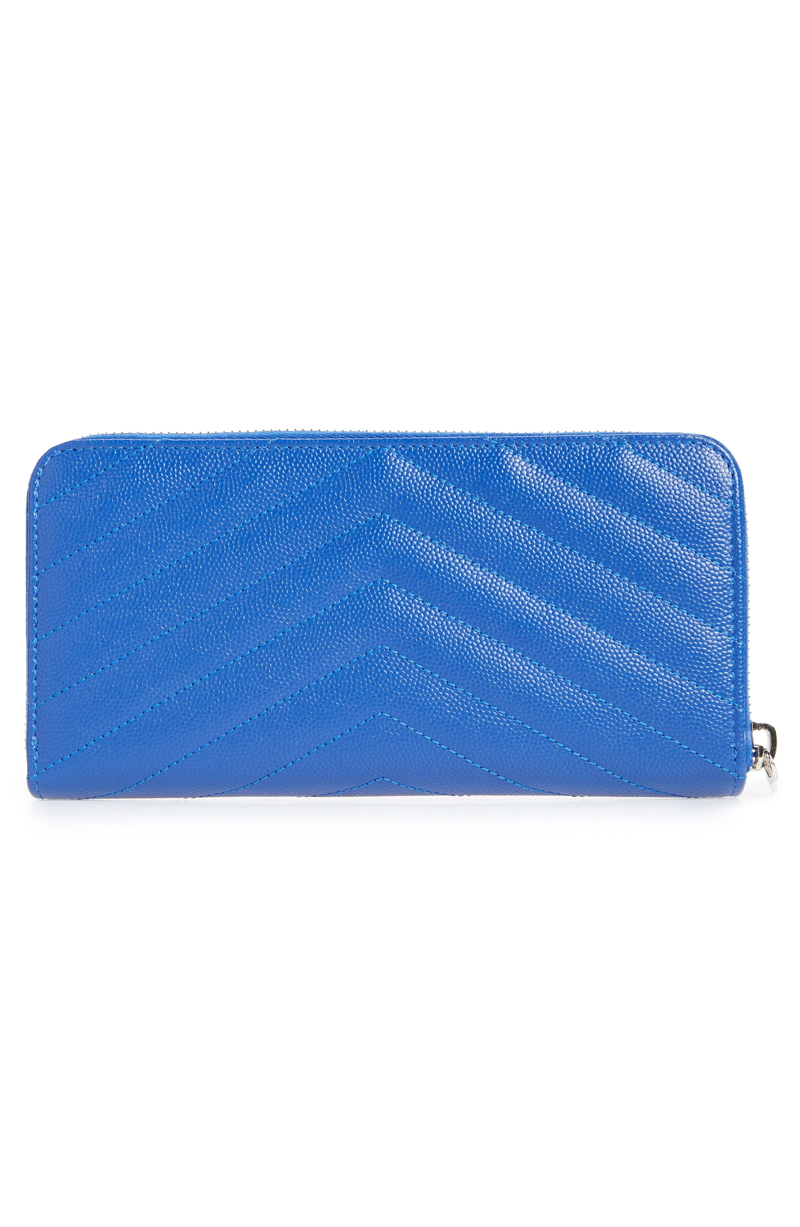 SAINT LAURENT,                             'Monogram' Zip Around Quilted Calfskin Leather Wallet,                             Alternate thumbnail 3, color,                             BRIGHT BLUE