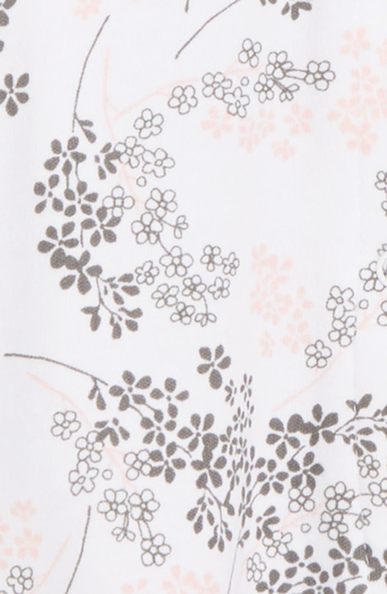 LITTLE ME,                             Floral Spray Footie & Hat Set,                             Alternate thumbnail 3, color,                             FLORAL