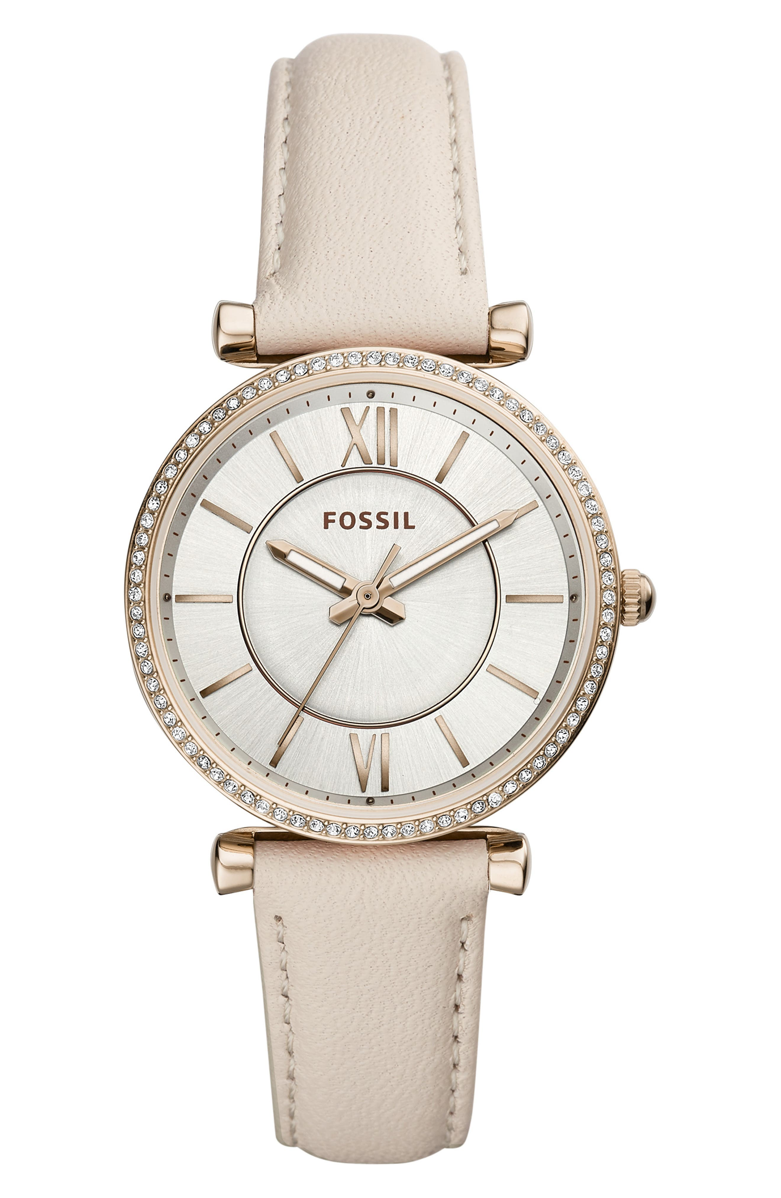 Carlie Leather Strap Watch, 35mm,                         Main,                         color, 100