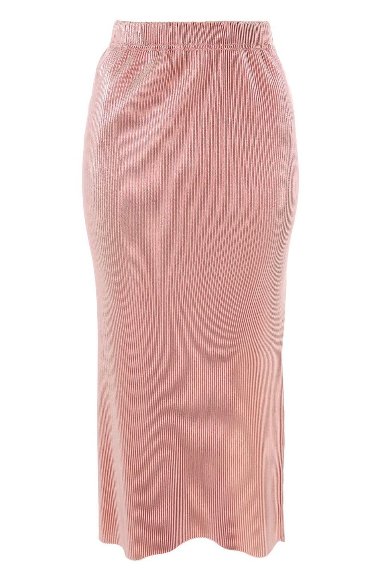 Plissé Pleated Midi Skirt,                             Alternate thumbnail 3, color,                             650