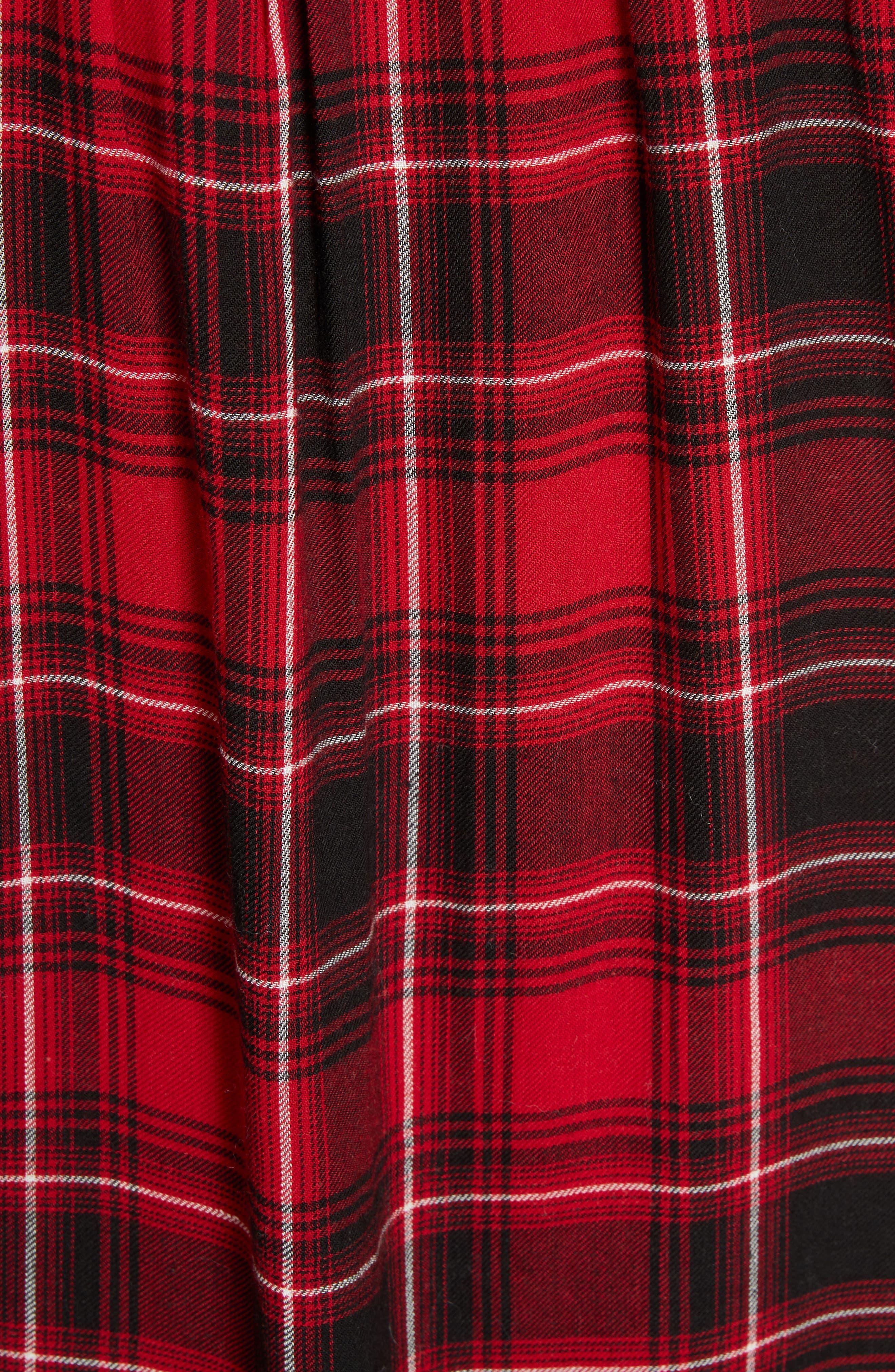 Ruffle Plaid Shirt,                             Alternate thumbnail 5, color,                             RED/ BLACK